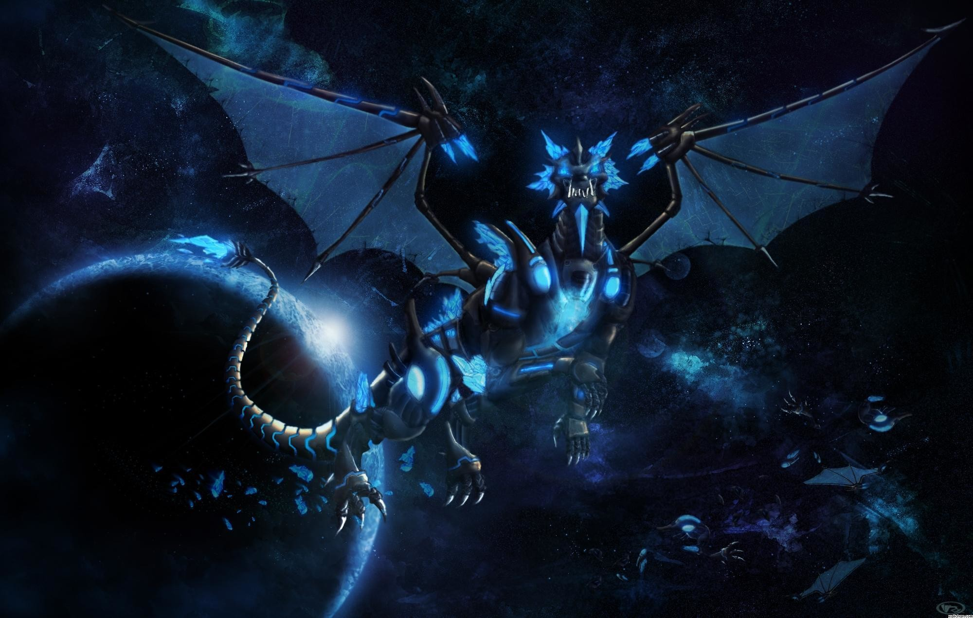 2000x1271 Wallpapers For > Blue Dragon Wallpaper Hd