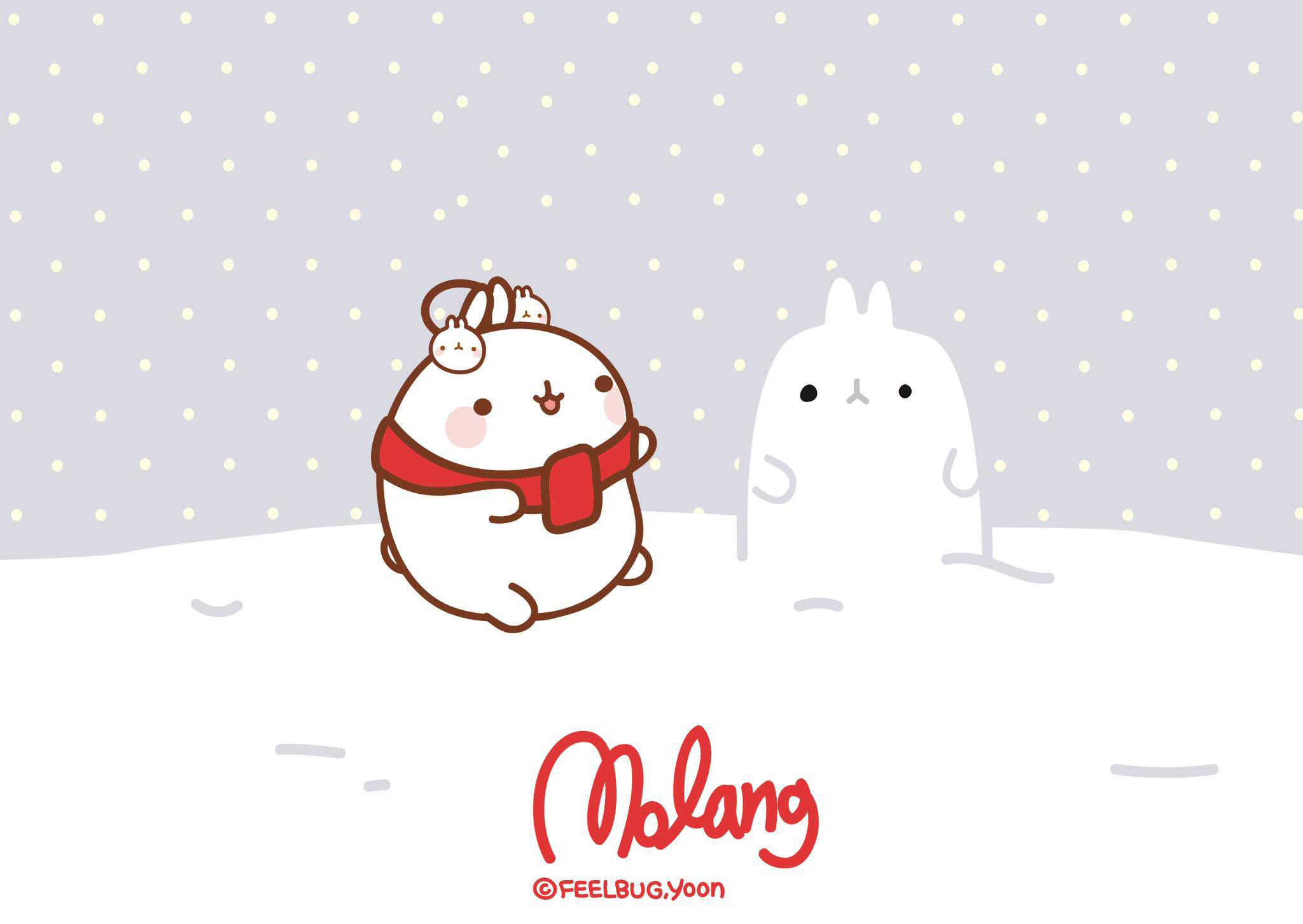 2048x1452 San X Molang Christmas Desktop Wallpapers