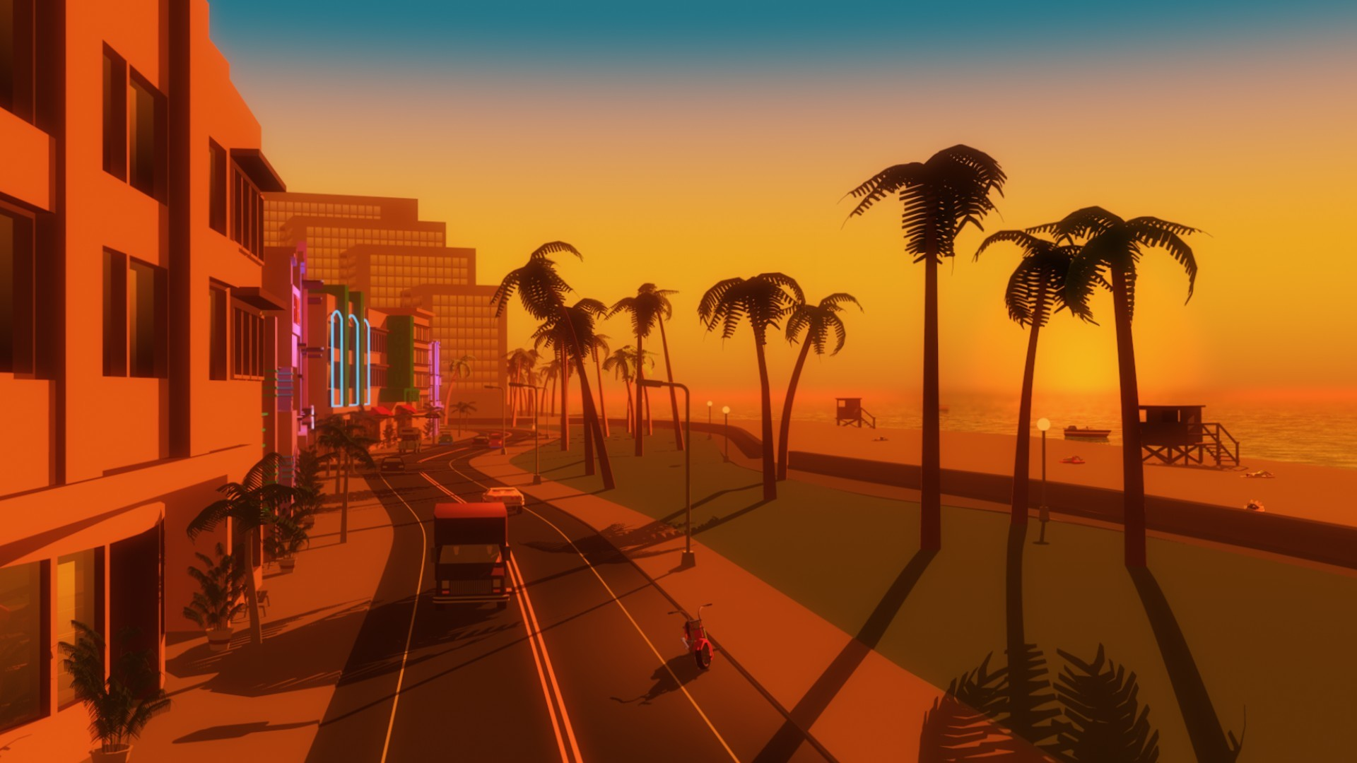1920x1080 Video games palm trees gta vice city beach wallpaper