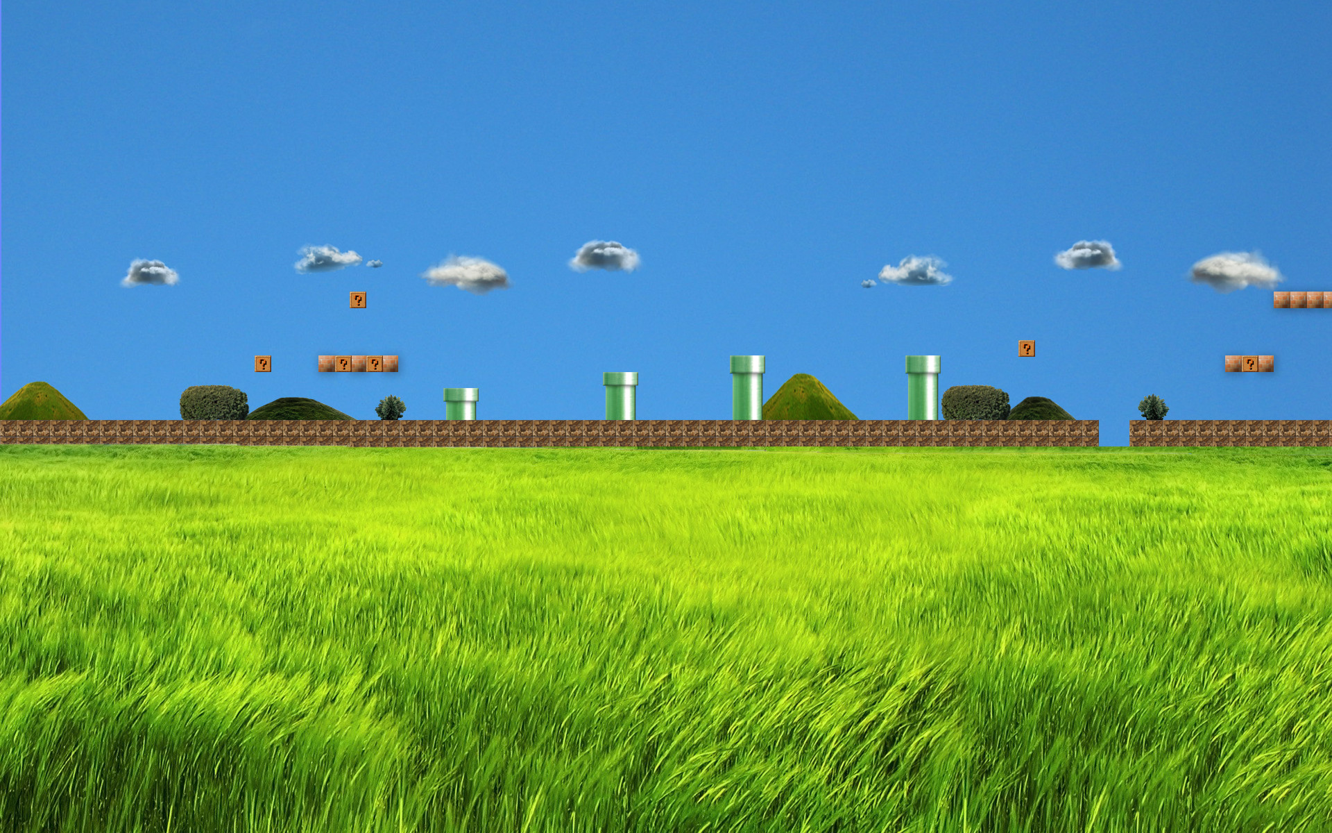 1920x1200 ... Realistic Super Mario Bros 1 first stage Wallpaper by trollkarl3
