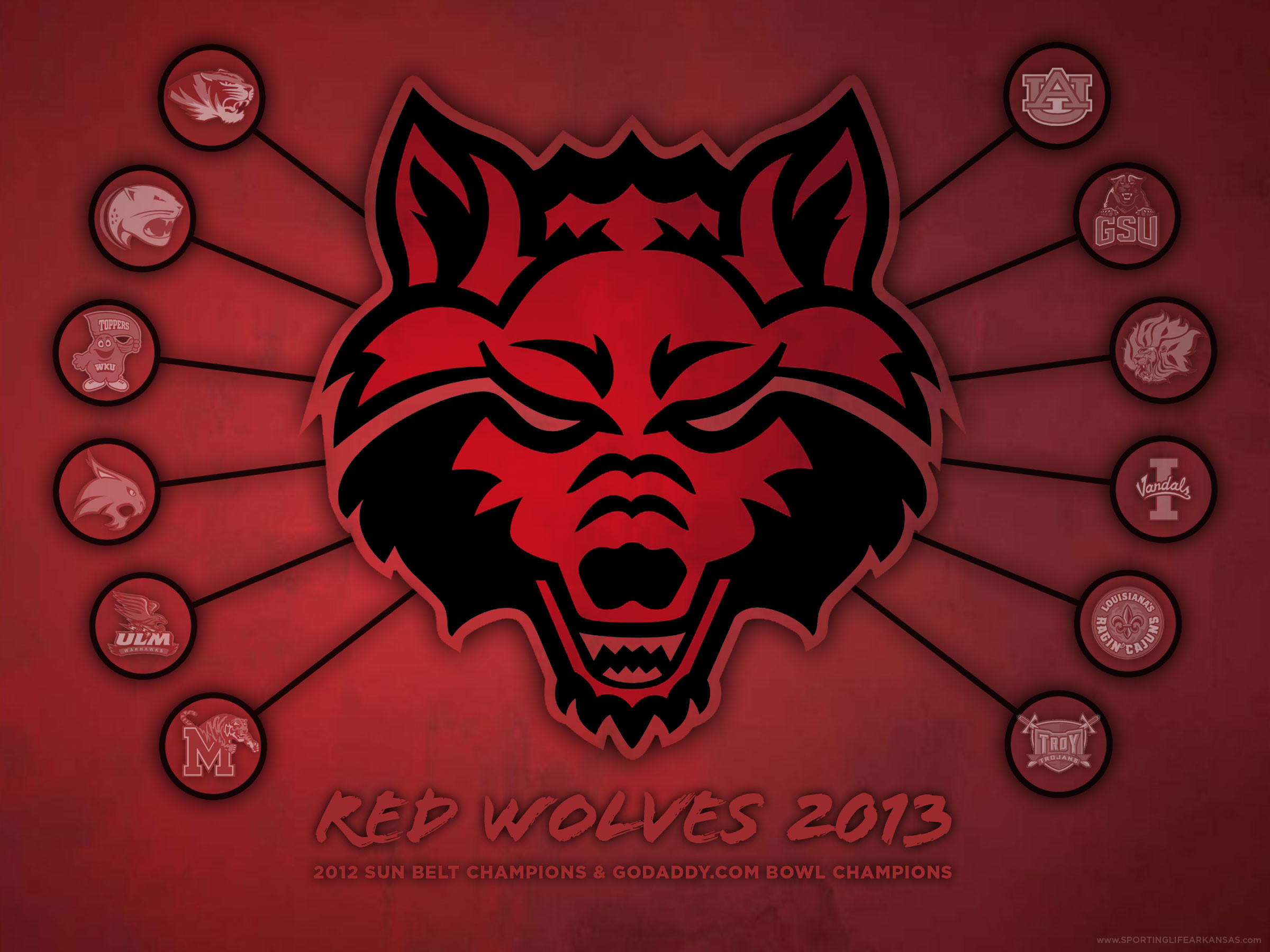 2400x1800 Click here to download a full size version (2400 x 1800) of the 2013 Red  Wolves wallpaper.
