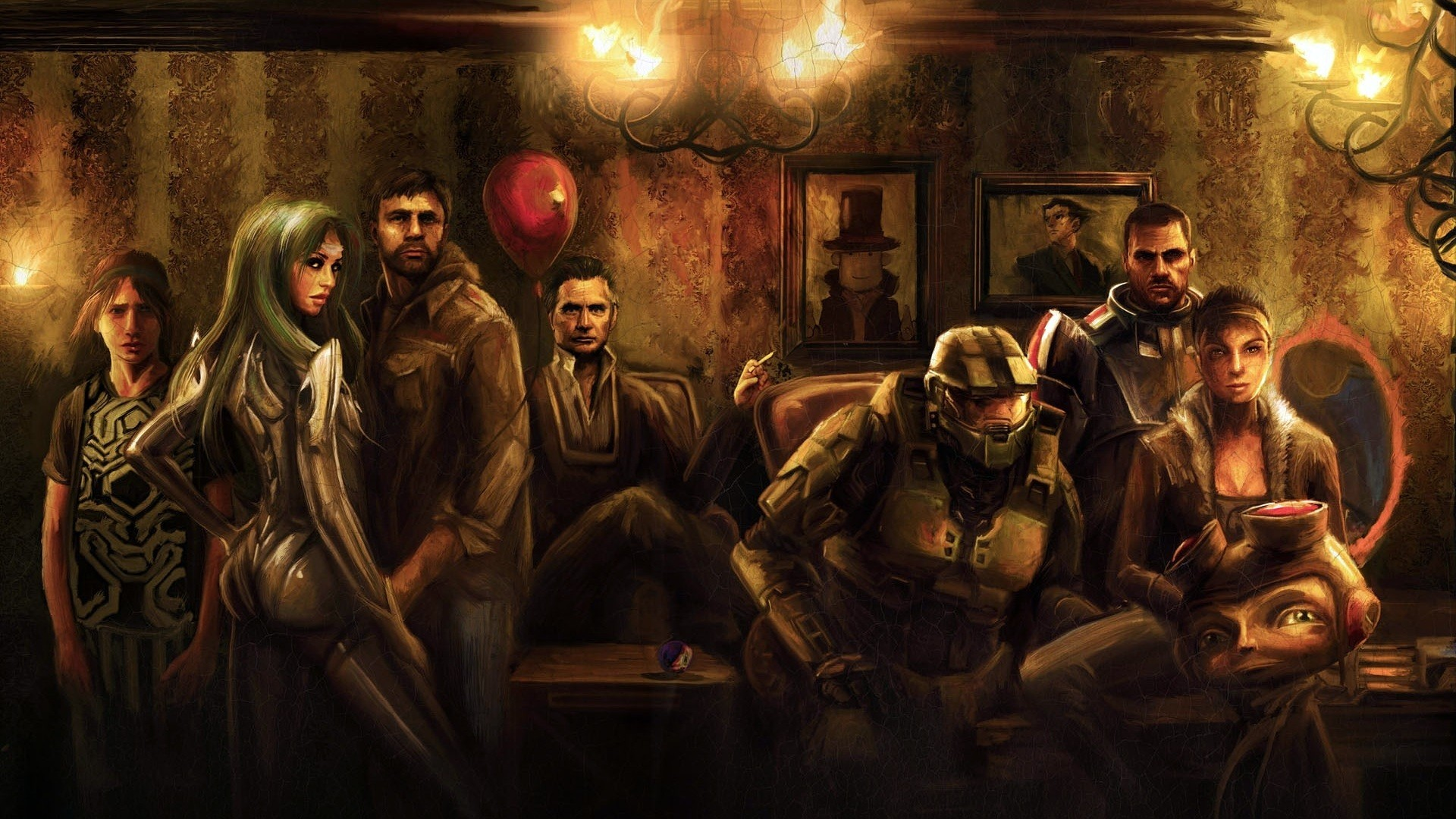 1920x1080  Wallpaper half-life, room, characters, faces, lamps