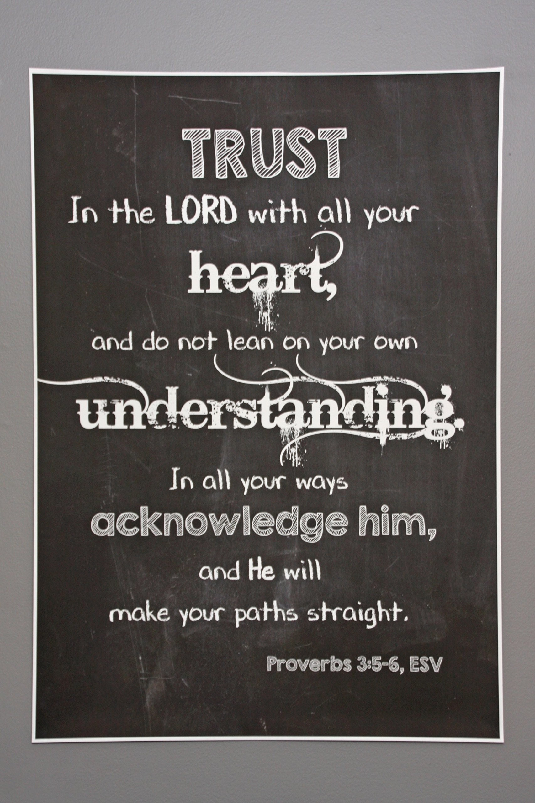 1706x2560 Proverbs 3:5-6 Movie Poster-Sized Print | Scripture Wall Art |