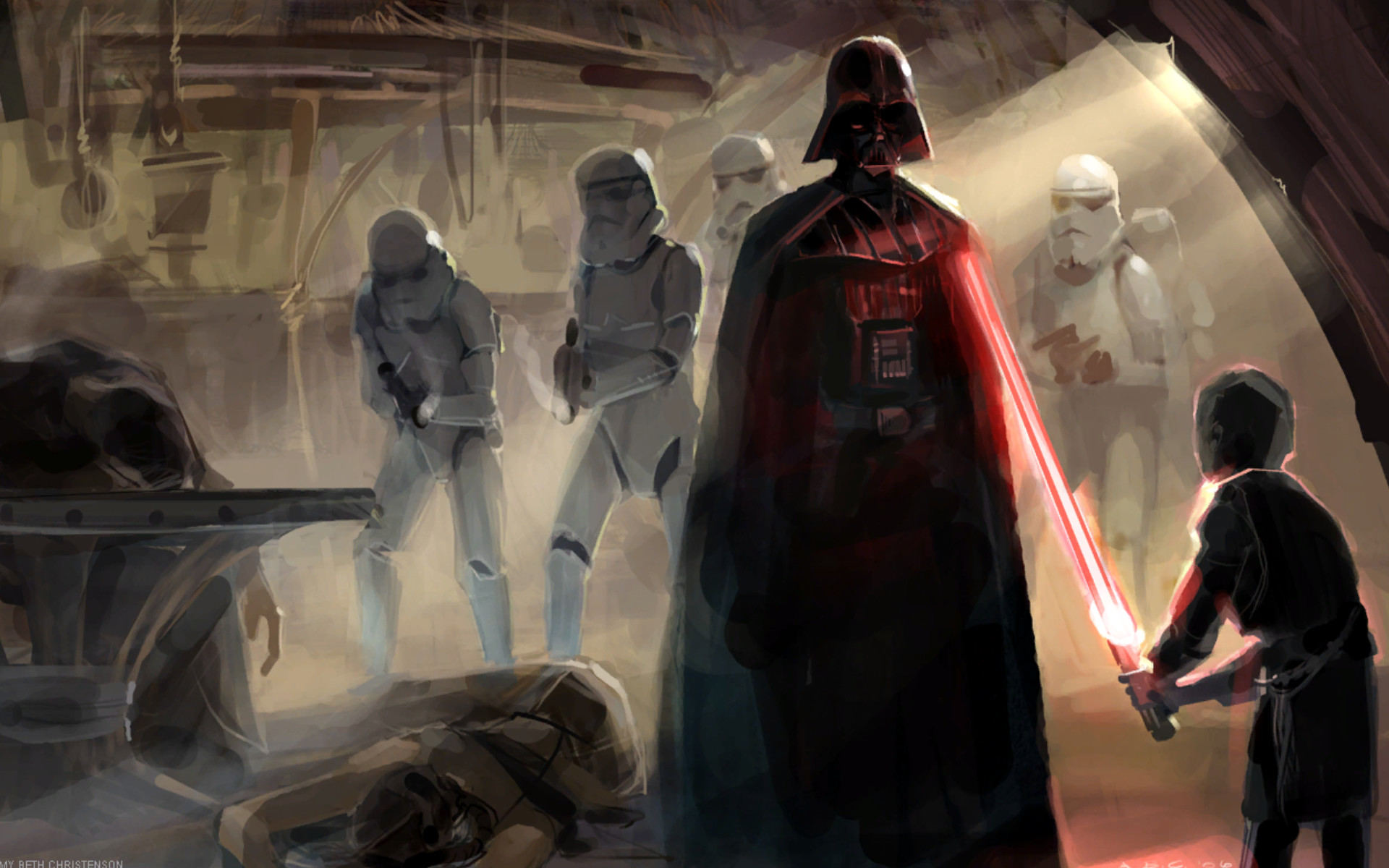 1920x1200 Artwork Concept Art Dark Side Darth Vader Lightsabers Sith Star Wars ...