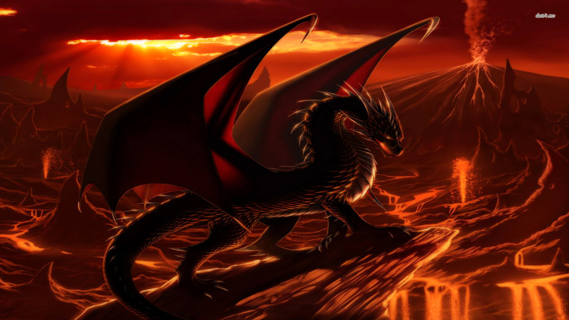 1920x1080 Dragon surrounded by lava Fantasy HD desktop wallpaper, Dragon wallpaper,  Fire wallpaper, Lava wallpaper, Volcano wallpaper - Fantasy no.