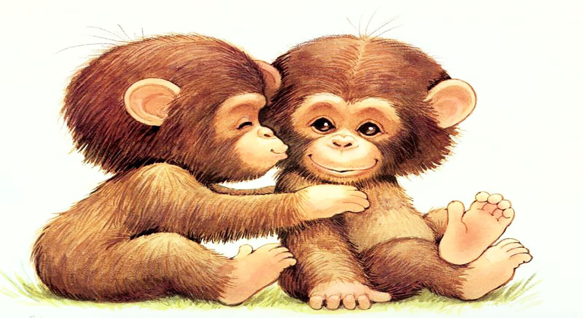 1980x1080 Cute Cartoon Monkey Wallpapers