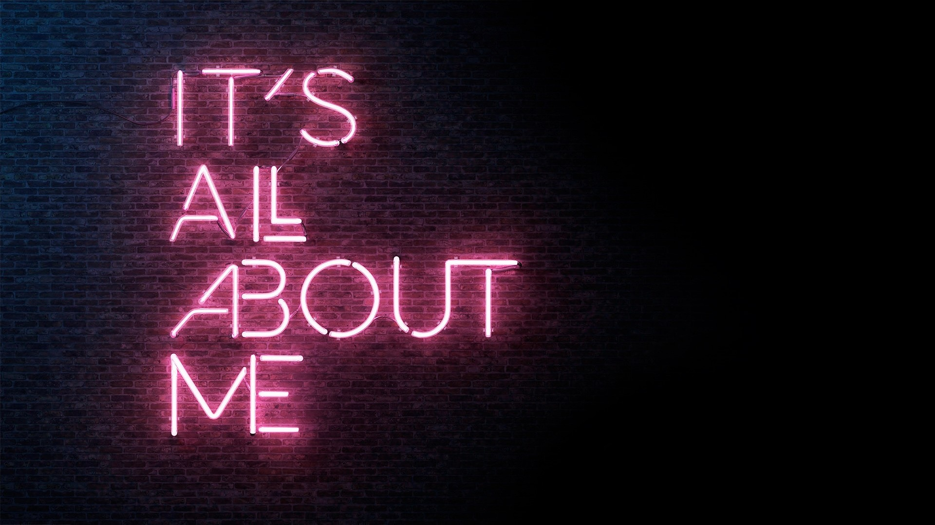 1920x1080 It's All About Me, Wall, Neon Light