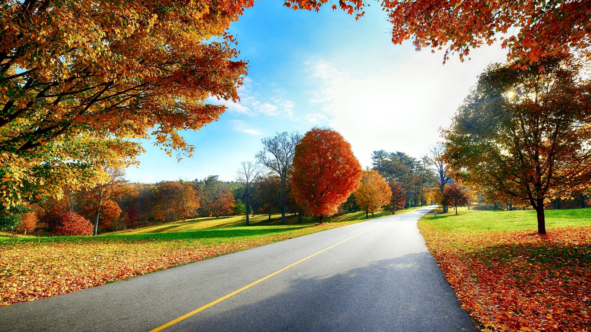 1920x1080 Beautiful autumn road scenery wallpapers – Free full hd wallpapers .