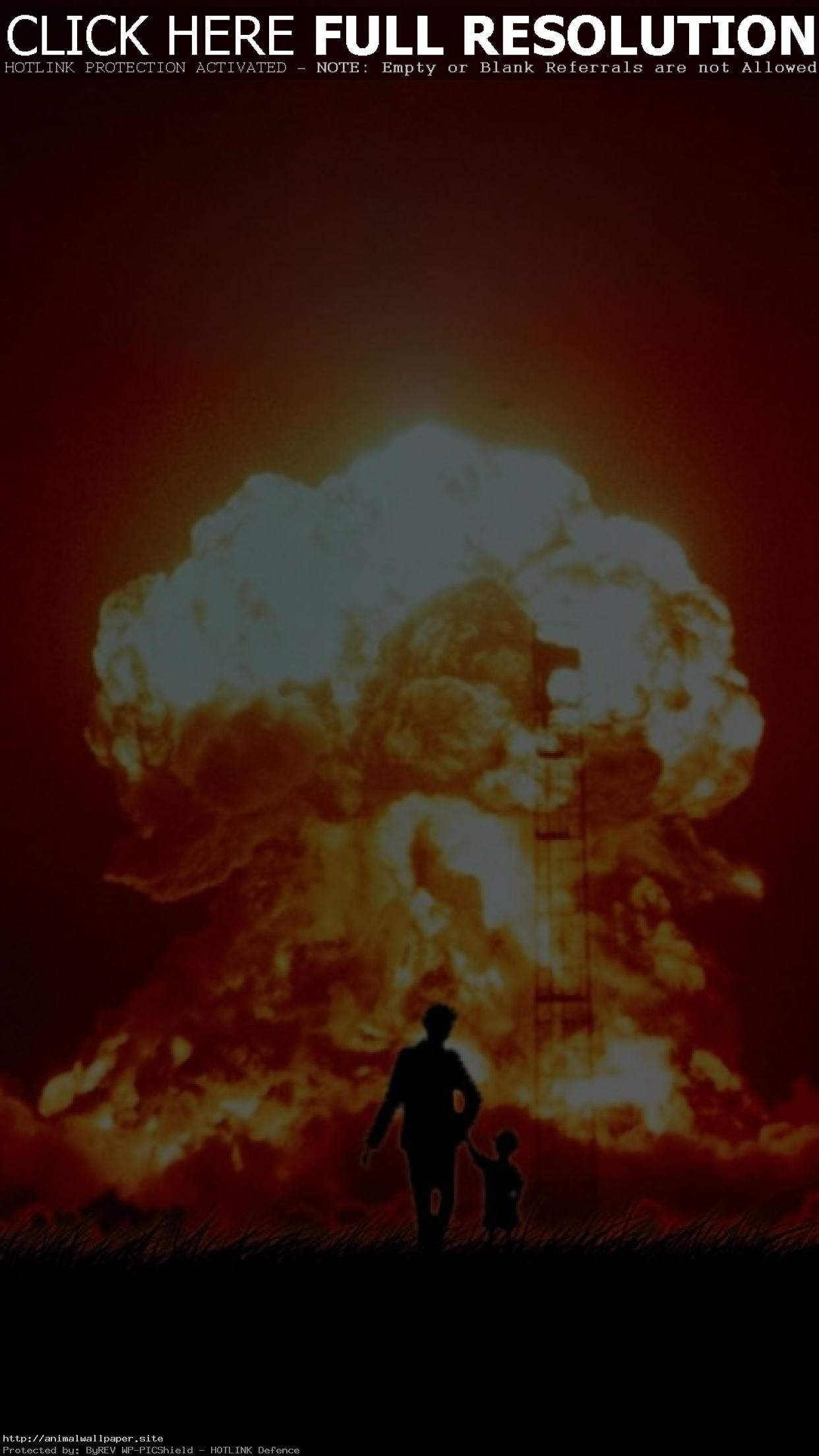 1242x2208 Cool A Boy And His Dog Mushroom Cloud Wallpaper
