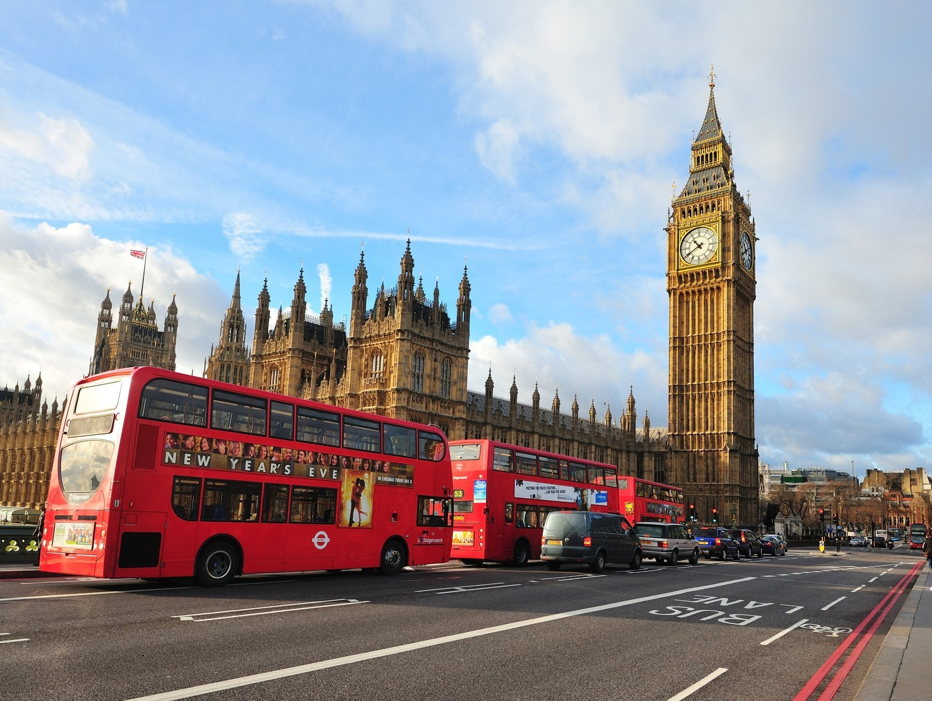 1920x1444 london england big ben westminster abbey city street bus
