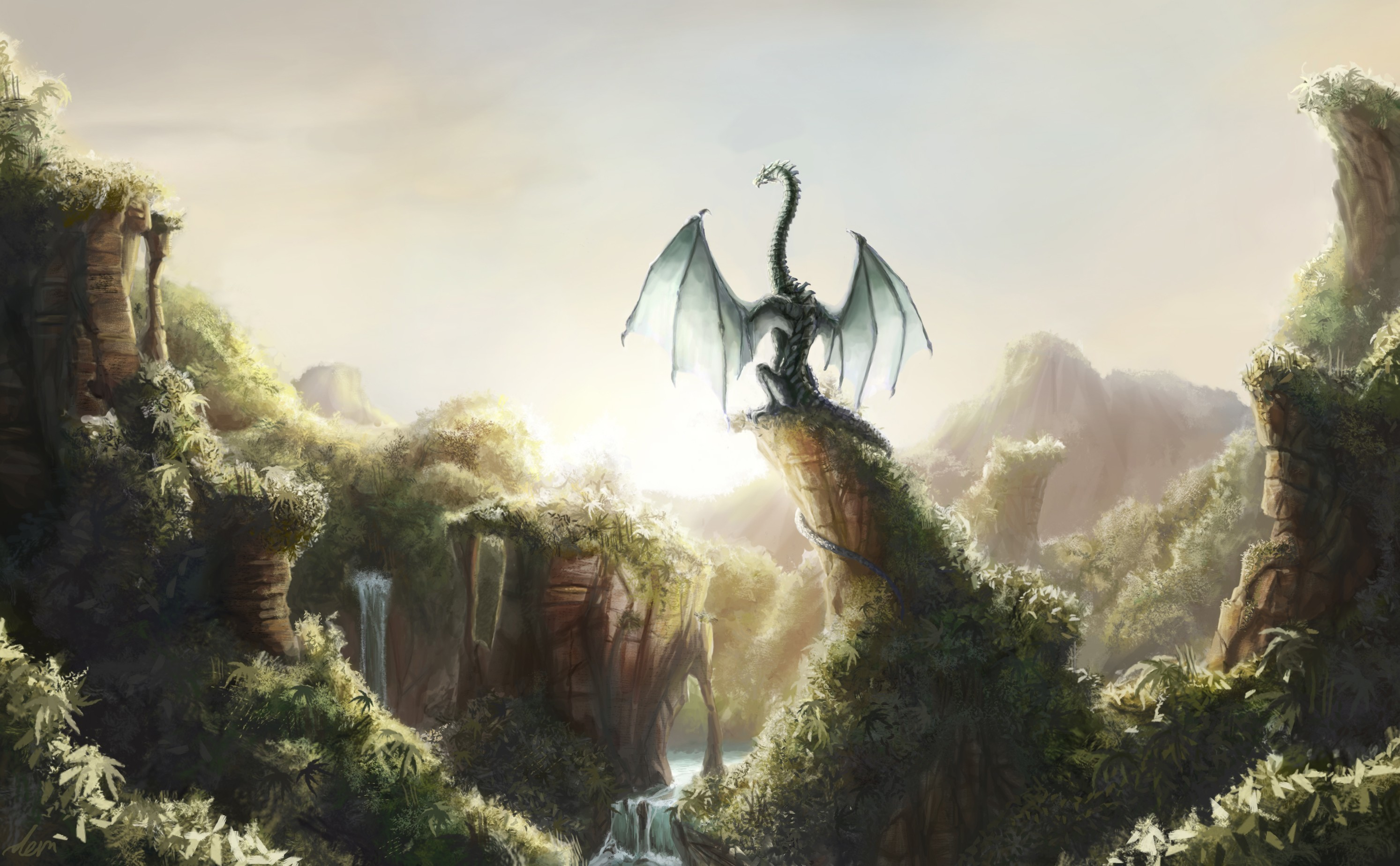 2987x1847 Dragons Fantastic world Fantasy dragon waterfall jungle forest river  wallpaper