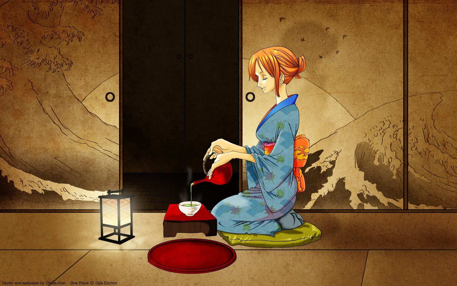 1920x1200 japanese oded kimono nami one piece tea room