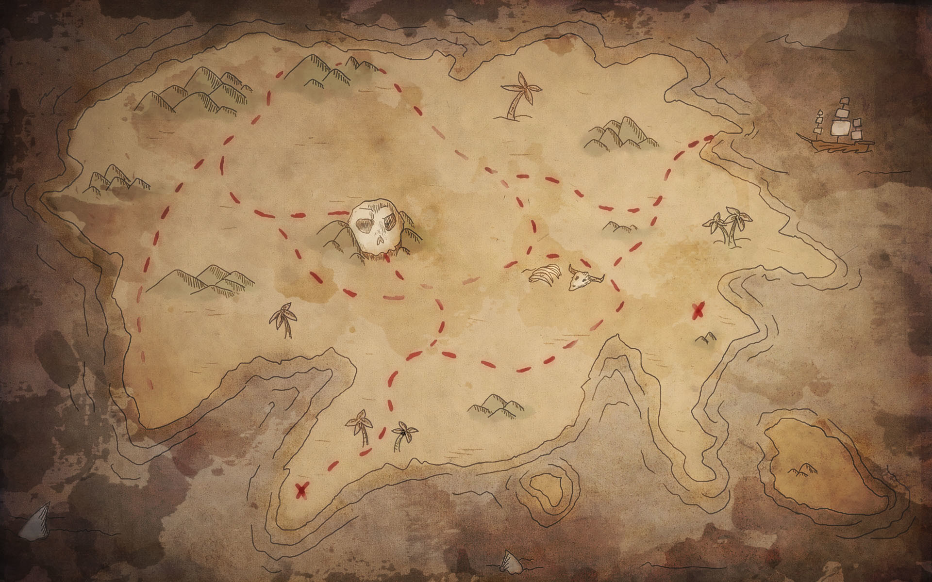 1920x1200 Clip Arts Related To : Old World Pirate Map - Map Chinoiserie Wallpaper