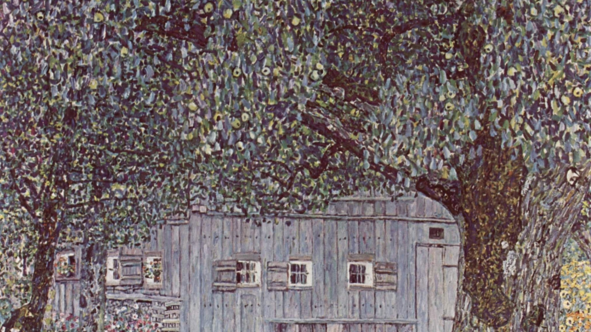1920x1080 Painting of Gustav Klimt - Cabin in the woods