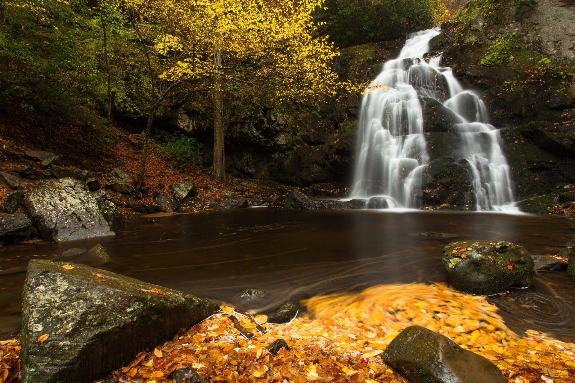 1920x1280 spruce flats falls great smoky mountains national park tennessee waterfall  stage river stones leaves autumn