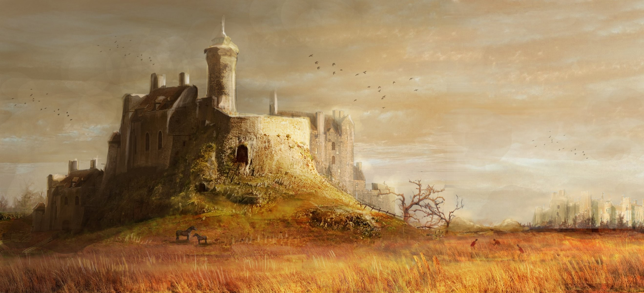 2638x1200 medieval castle hill tower tree grass horses