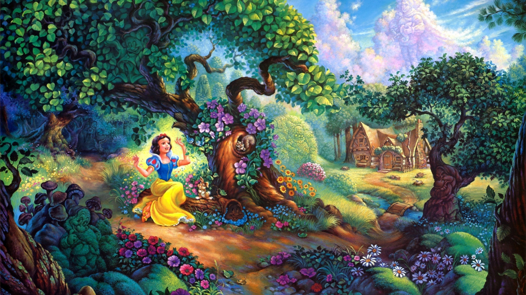 2048x1152  Wallpaper snow white, fairy forest, trees, house, fairy tale