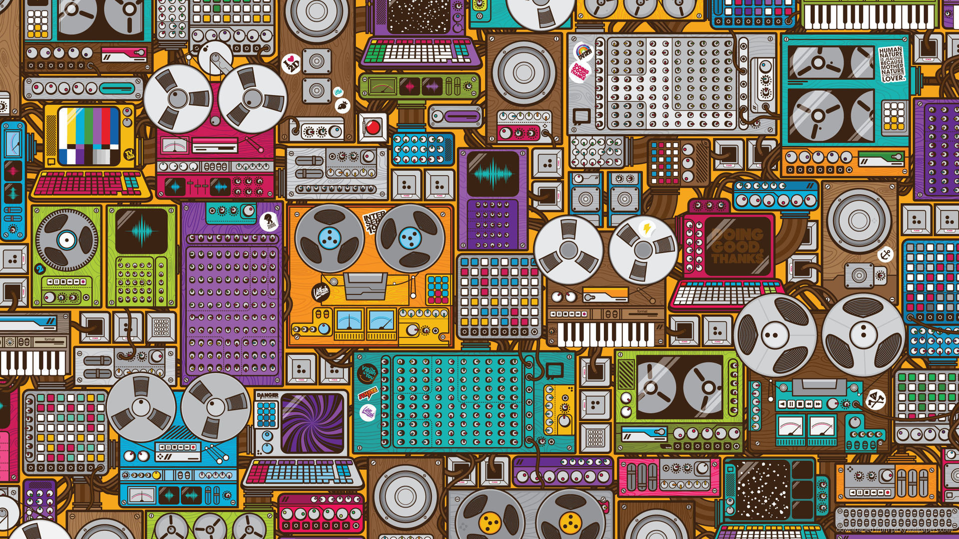 1920x1080 Retro Music Devices Pattern picture