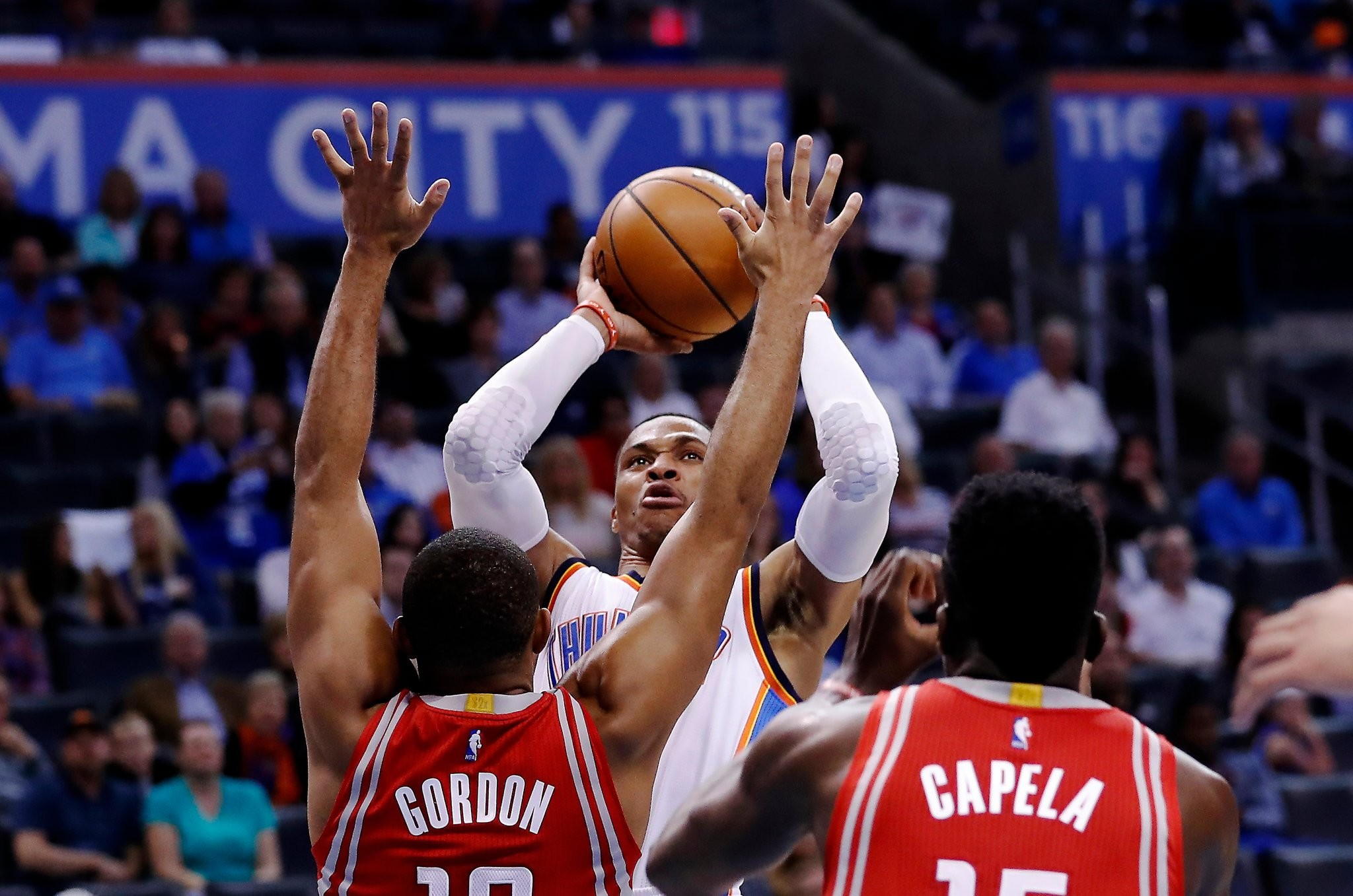2048x1357 Westbrook shot over Eric Gordon and Clint Capela of the Rockets this month.  Credit Alonzo Adams/Associated Press