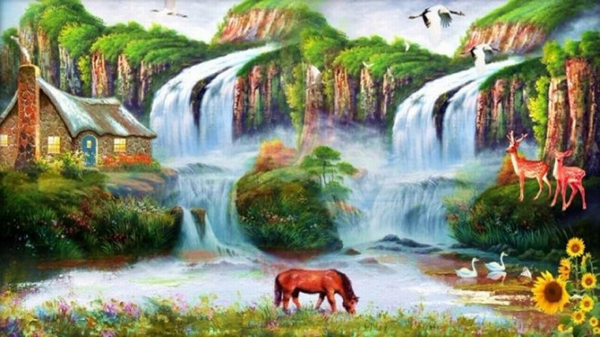 1920x1080 Waterfalls Forest Rocky Mountain Pool Falls Pond Green Wallpaper Scenery Waterfall Detail