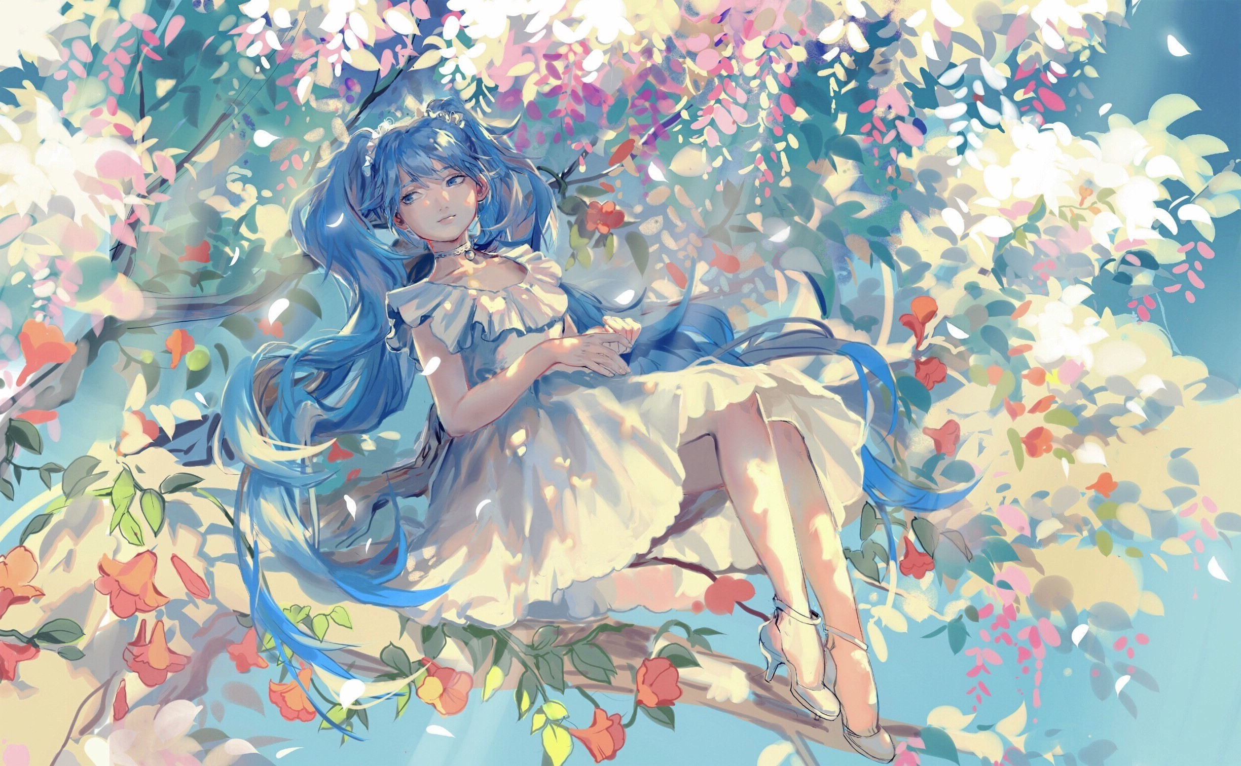2448x1512 heels, Dress, Trees, Hatsune Miku, Vocaloid Wallpapers HD / Desktop and  Mobile Backgrounds