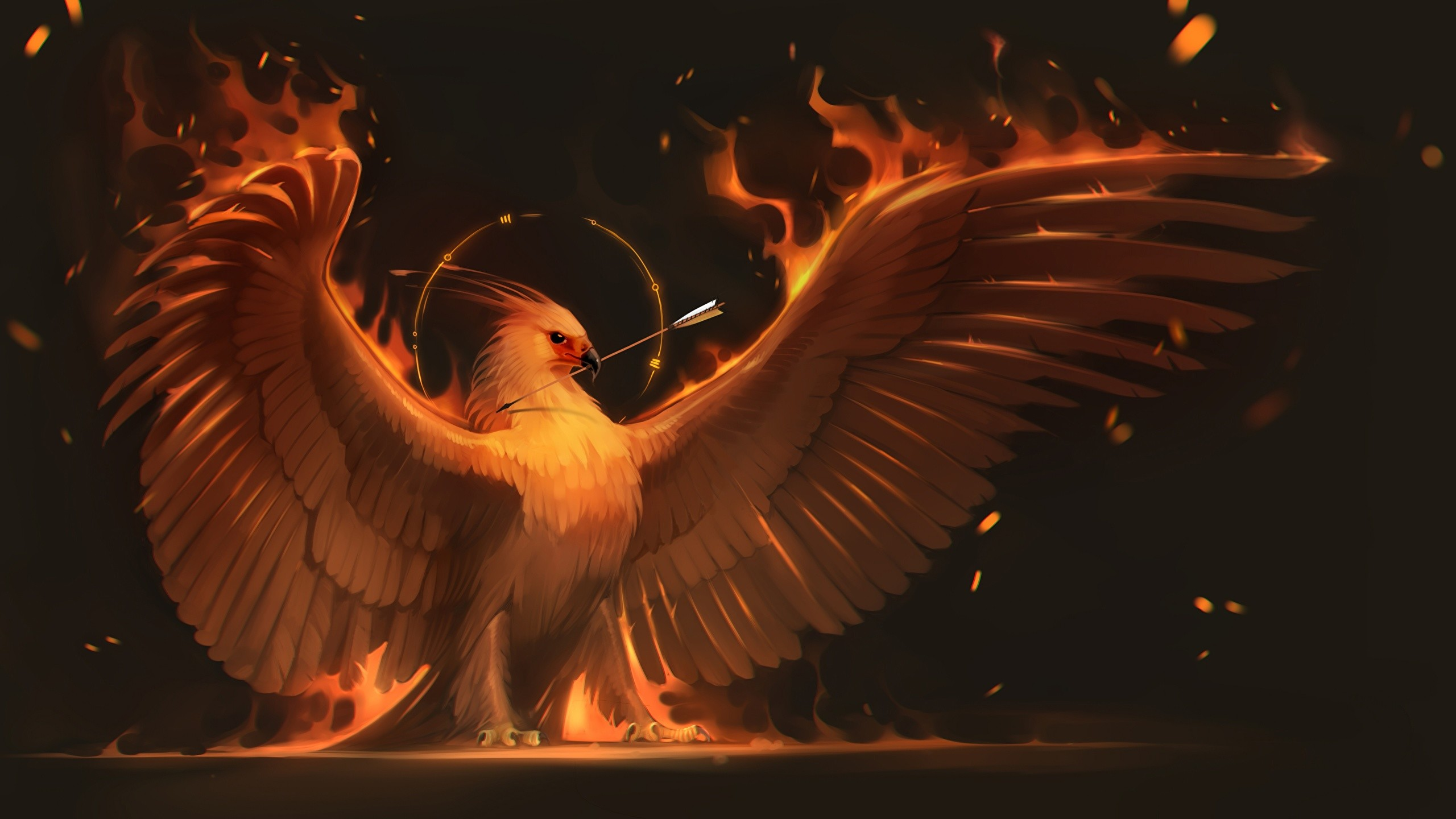 2560x1440 Wallpapers Birds Phoenix mythology Wings Fantasy Fire Magical animals   Flame