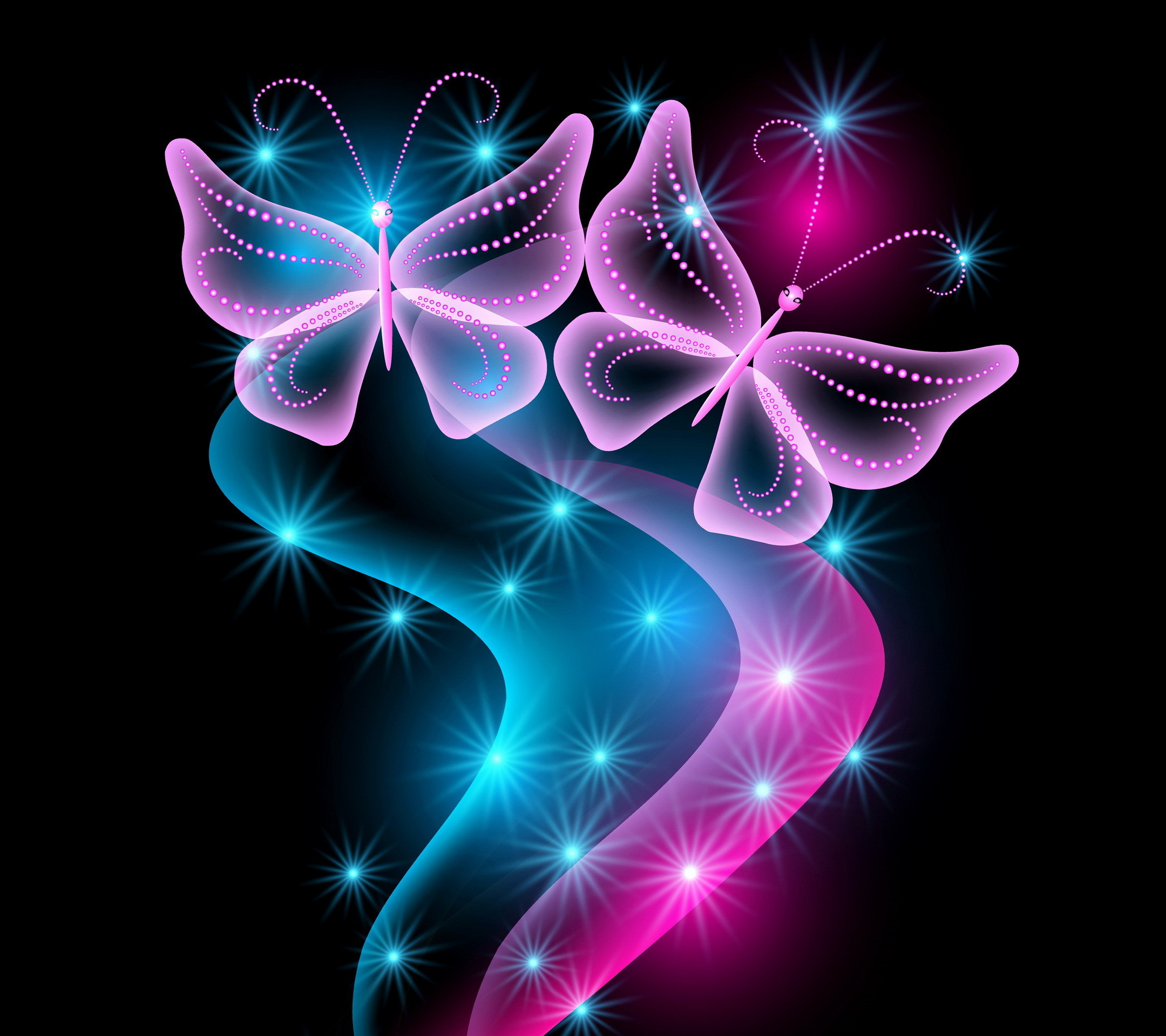2160x1920 Wallpaper Butterflies, Neon, Light, Abstract, Black background HD, Picture,  Image
