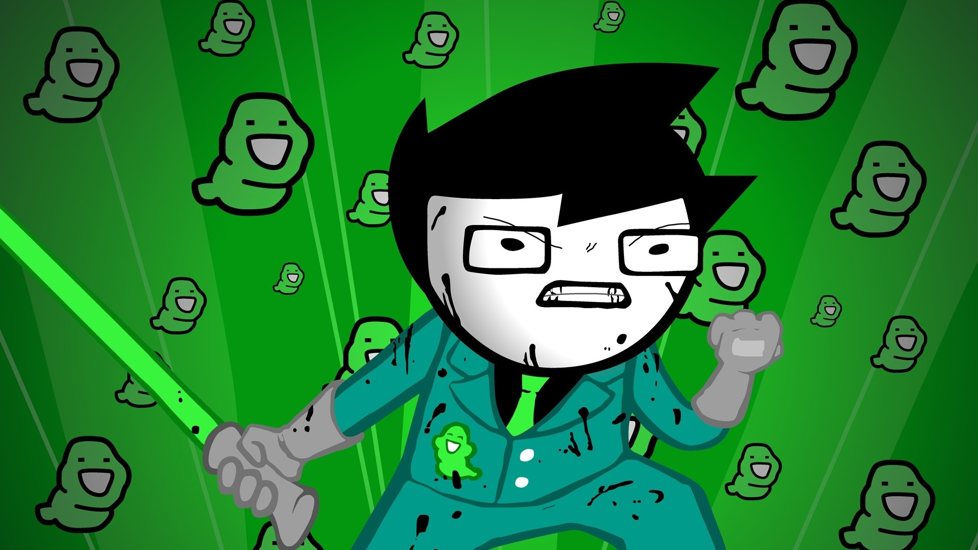 1920x1080 Preview wallpaper green, figure, aggression, style, homestuck