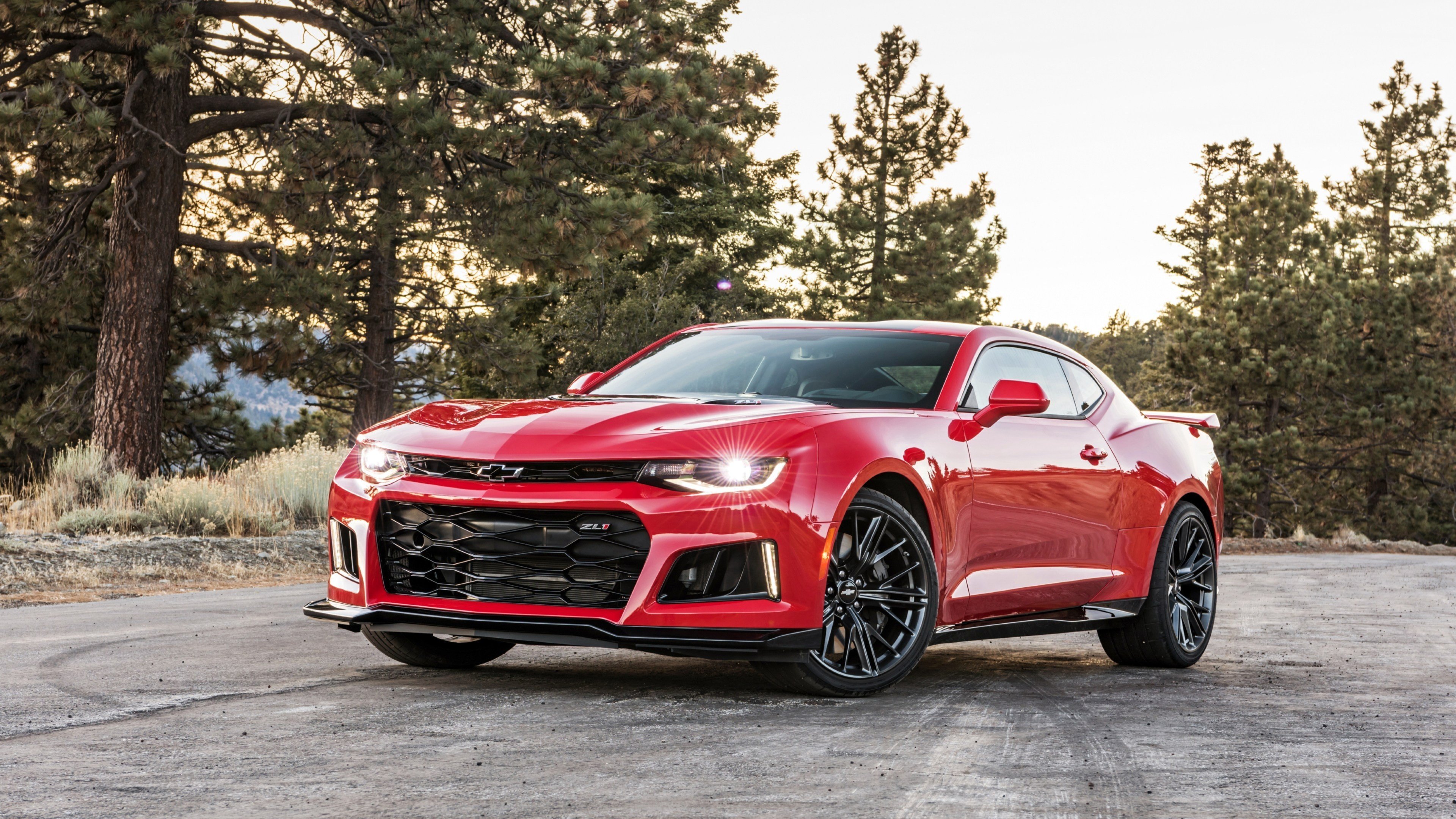3840x2160 Red Car Chevrolet Camaro Zl1 Against The Forest Wallpapers