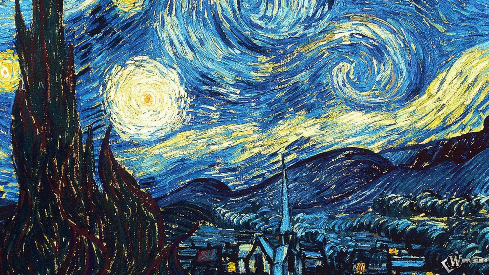 1920x1080  Wallpaper vincent van gogh, the starry night, oil, canvas