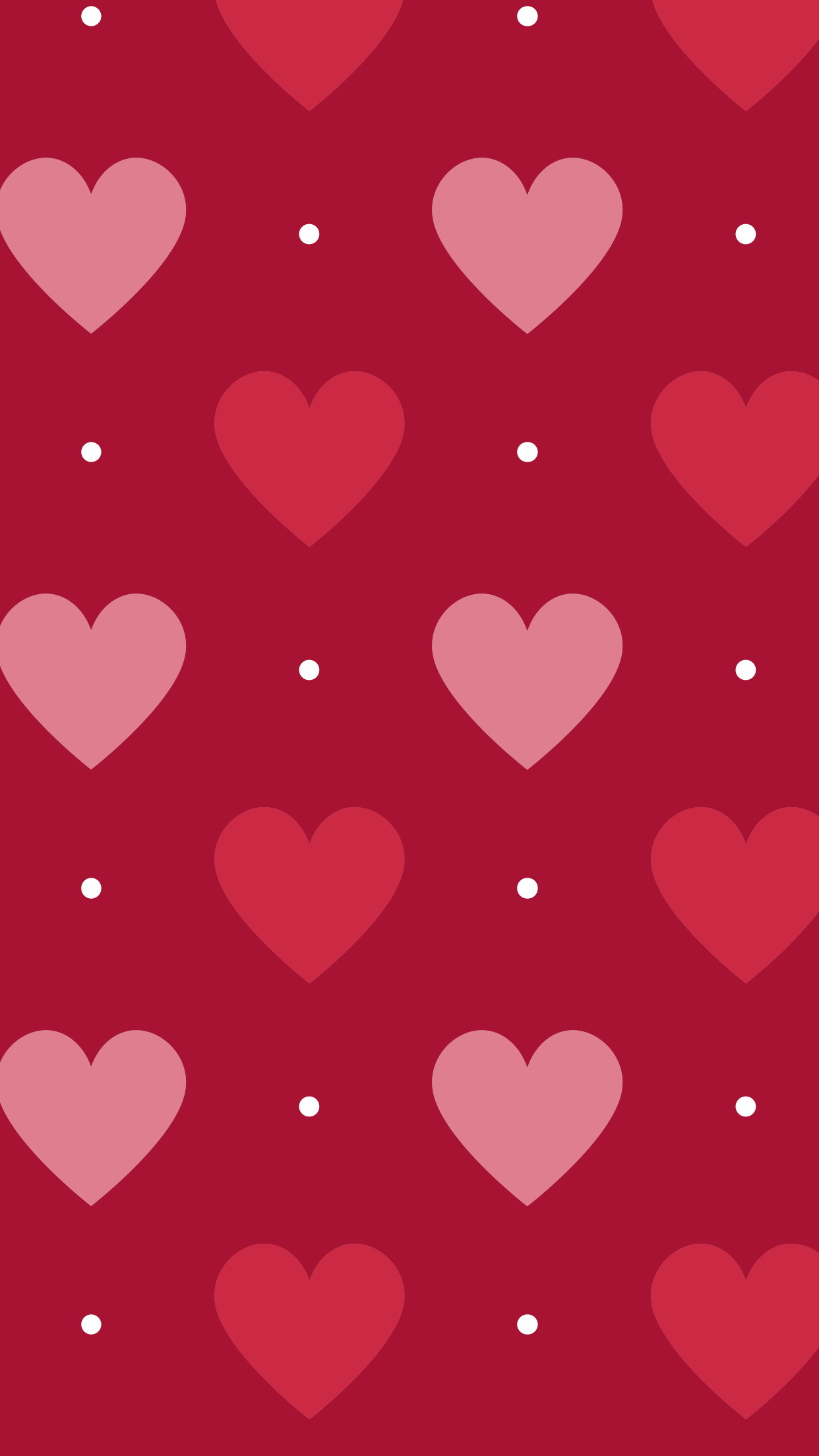 1242x2208 pink // red // hearts // polka dots
