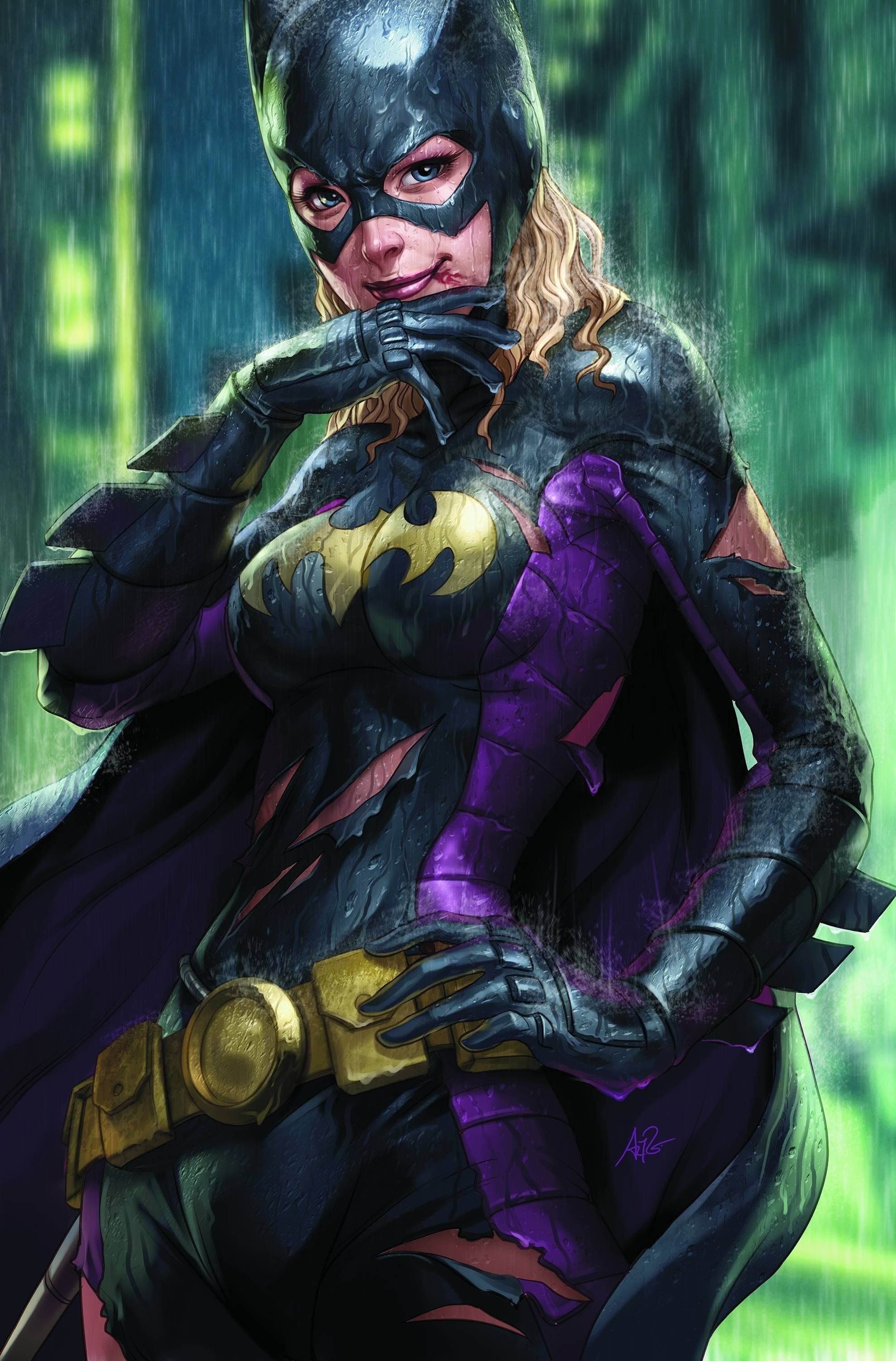 1980x3006 dc comics superheroes wet batgirl bodysuit artwork artgerm   wallpaper