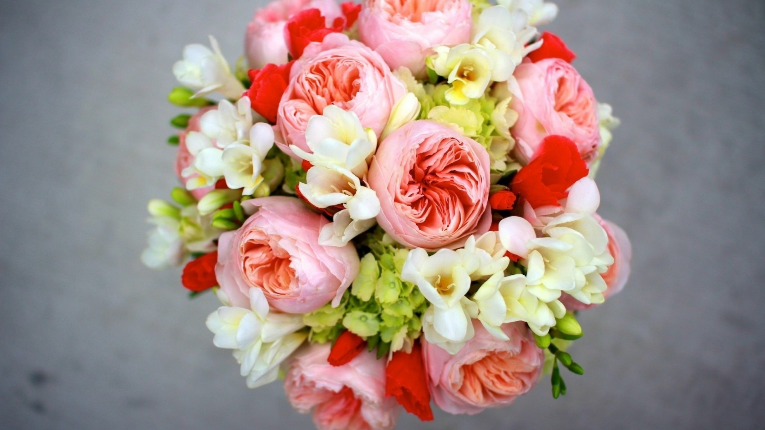 2560x1440 Preview wallpaper peony, freesia, hydrangea bouquet, arrangement, flowers