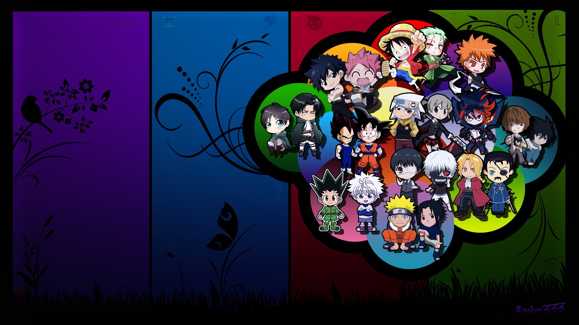 1920x1080 Wallpaper : illustration, window, chibi, Soul Eater, cartoon, glass, Naruto  Shippuuden, Kaneki Ken, Tokyo Ghoul, Dragon Ball, Son Goku, Shingeki no  Kyojin, ...