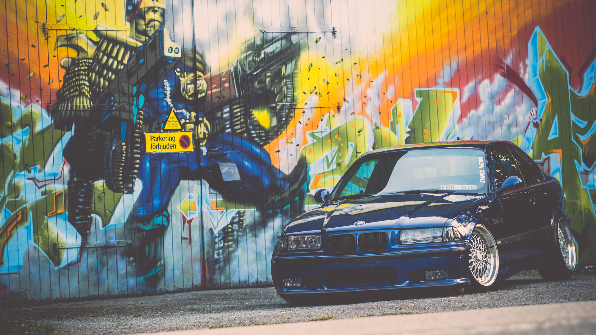 1920x1080 e36, bmw, m3, blue, stance, bmw, tuning, graffiti wallpaper