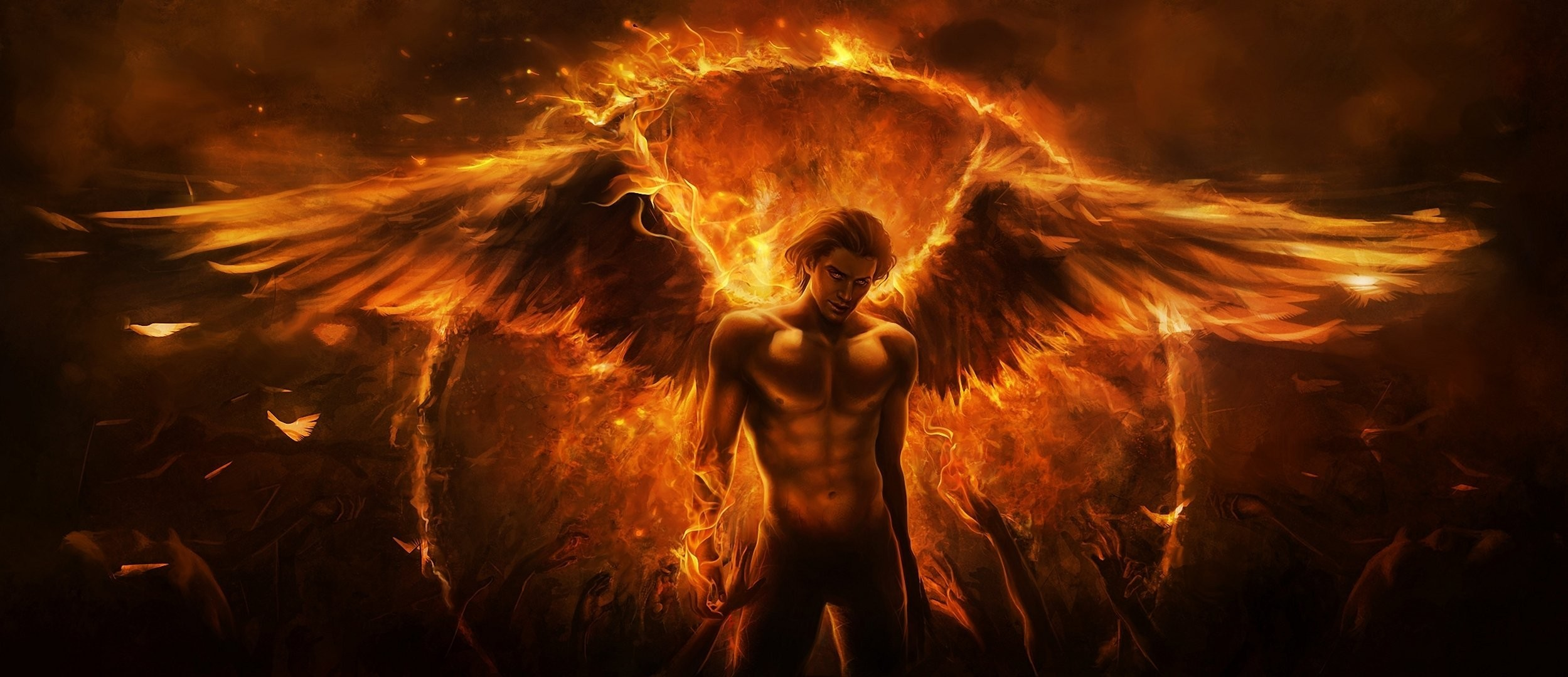 2499x1080 art imaliea guy angel demon fire wings hands