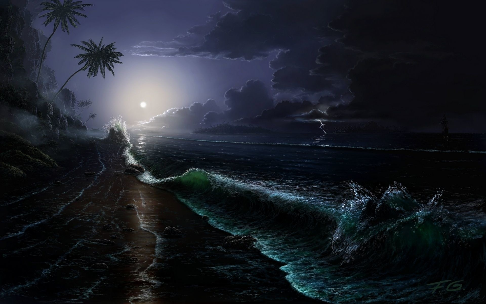 Florida Beach At Night Wallpaper