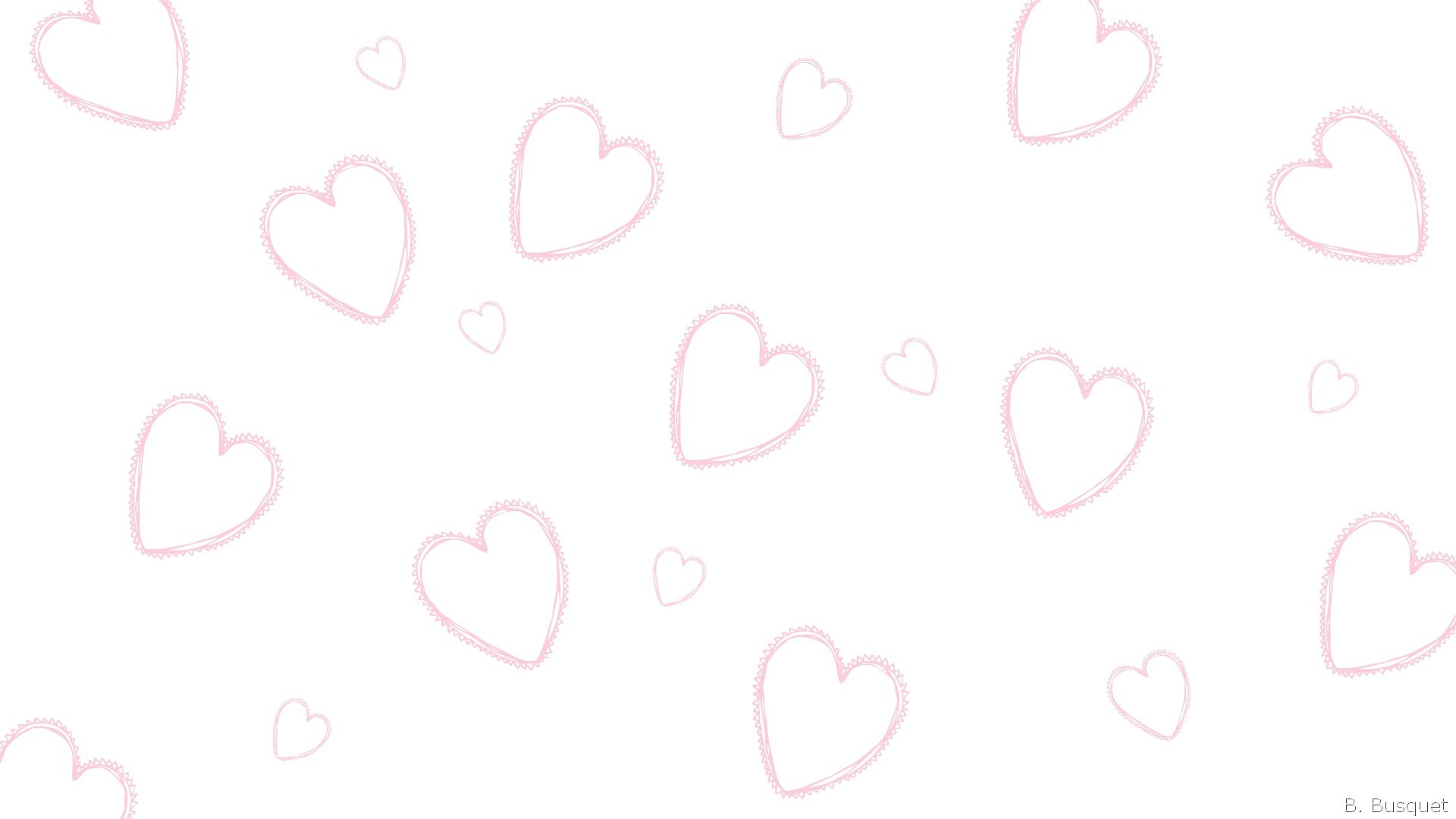 1920x1080 White wallpaper with pink hearts