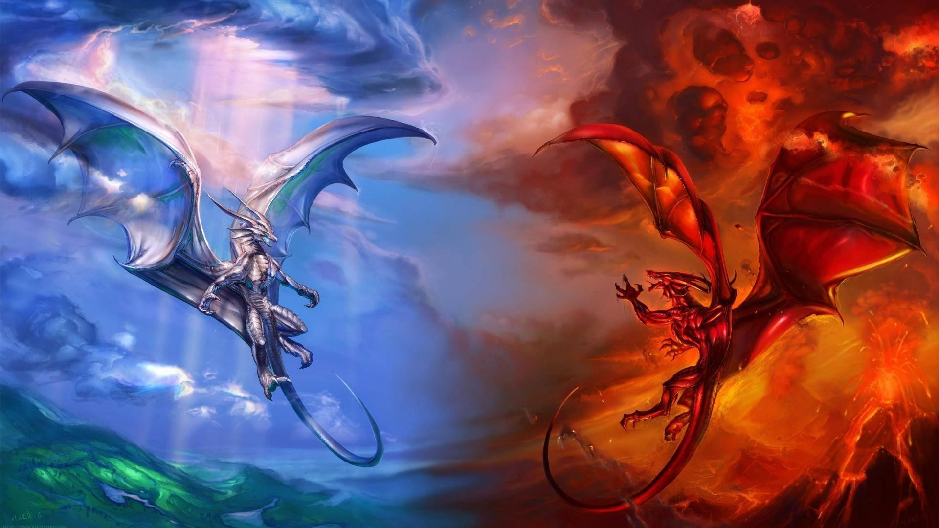 1920x1080 ice dragon vs fire dragon-World of fantasy art design HD wallpaper  Wallpapers View