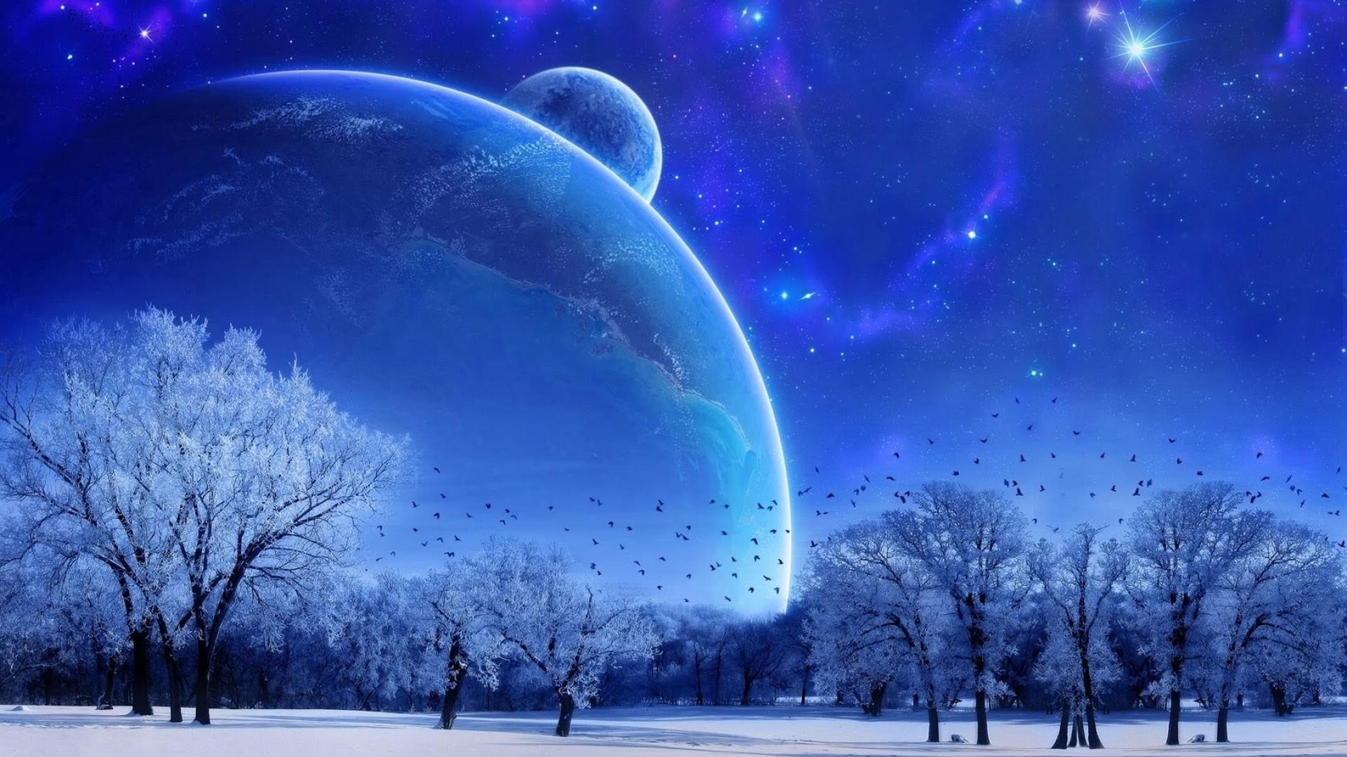 1920x1080 Glows Blue Planet Wallpaper Full HD