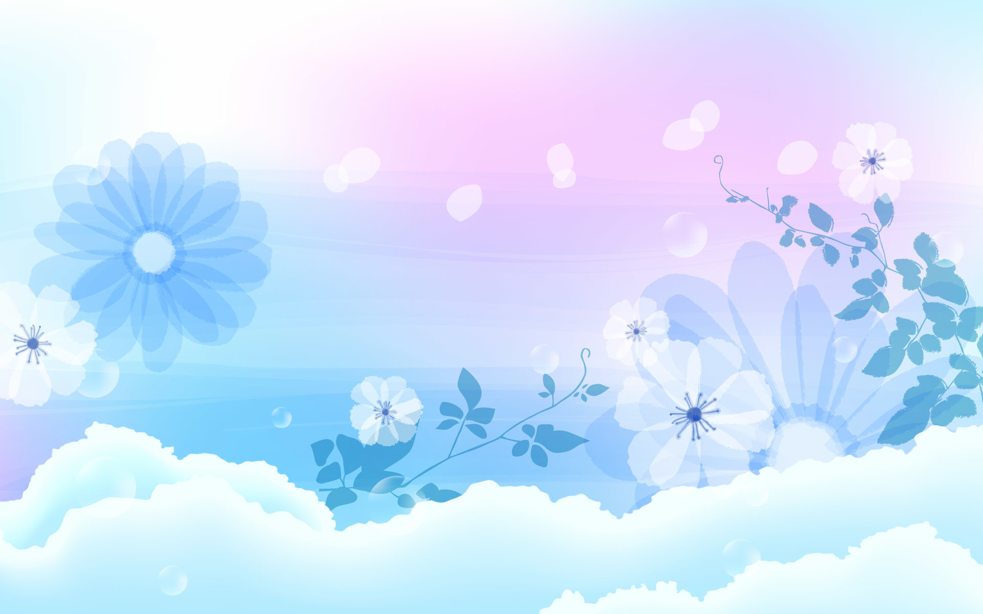 Blue Wallpaper With White Flowers 45 Images