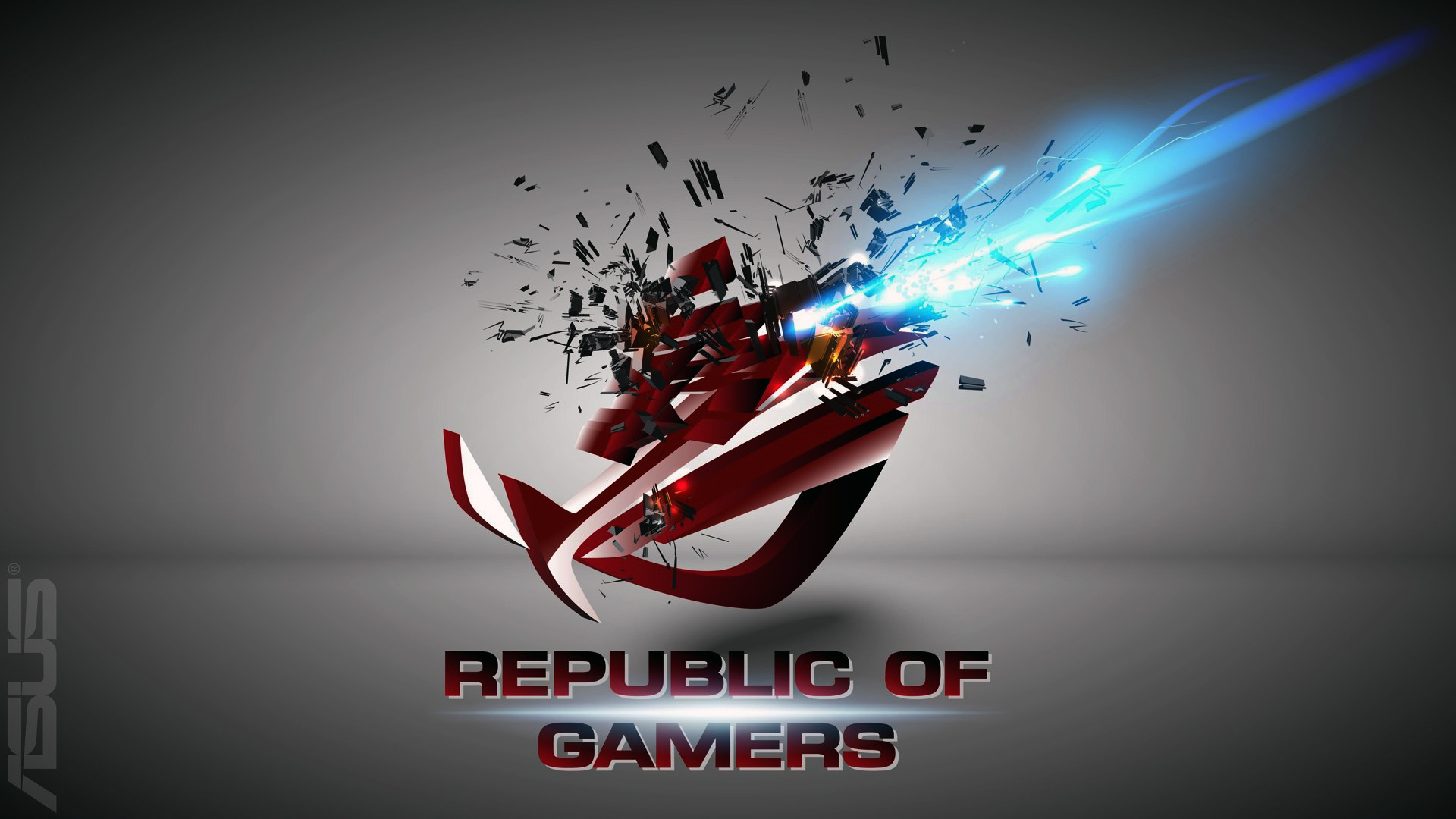 1920x1080 asus rog (republic of gamers) logo shattered explosion hd.  .
