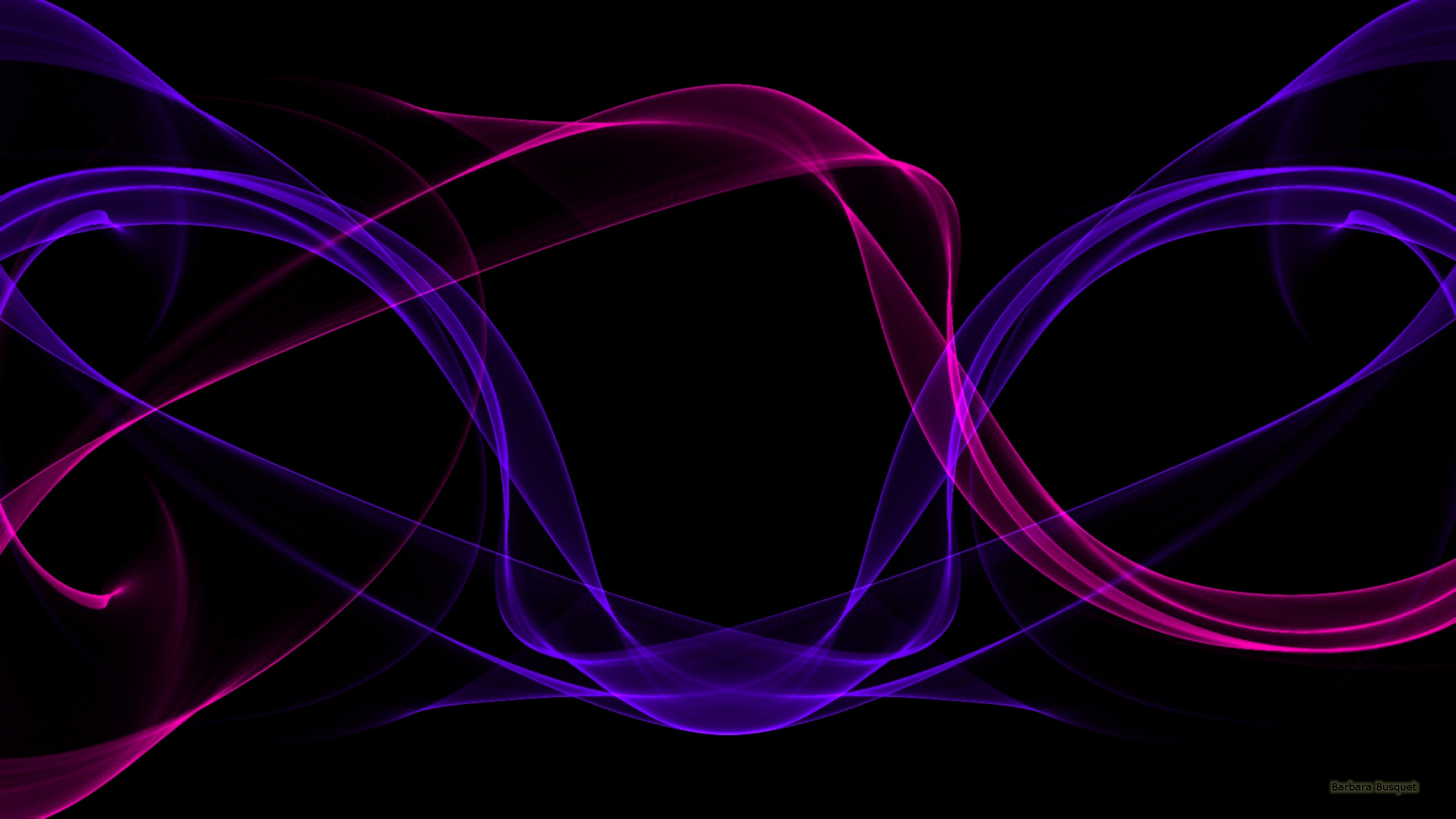 2560x1440 Black abstract wallpaper with purple and pink waves