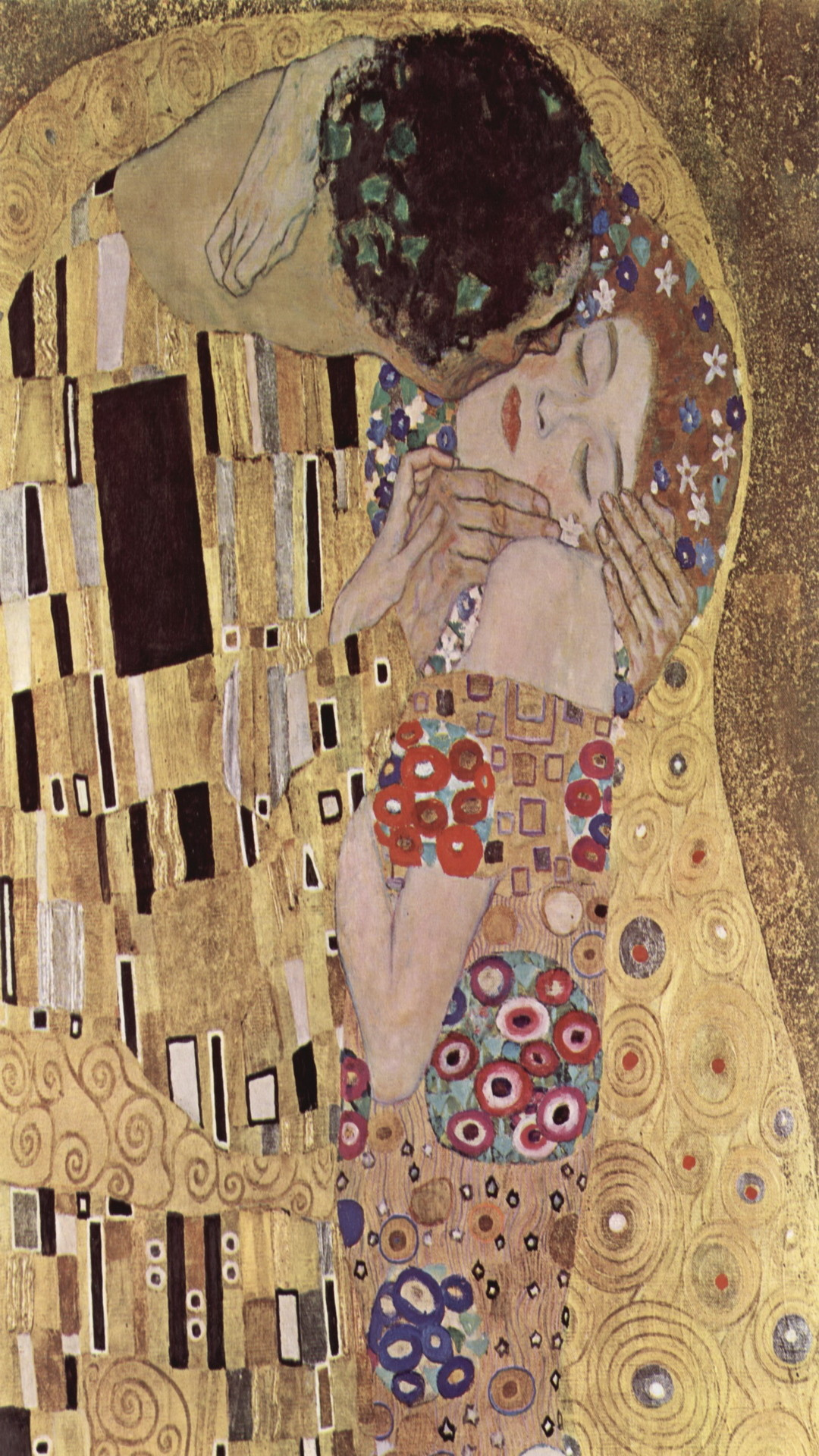 1080x1920 Art The Kiss Lovers Gustav Klimt Gold