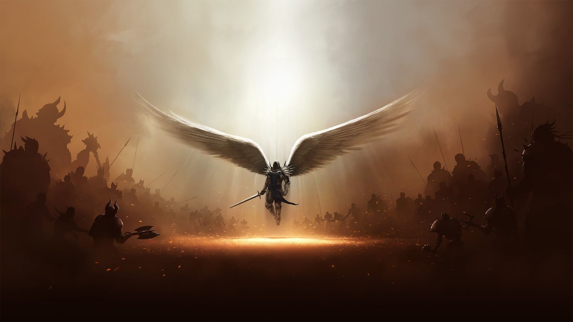 1920x1080 Tyrael Alone War Fighting Angel Demons Hell Heaven Diablo Game
