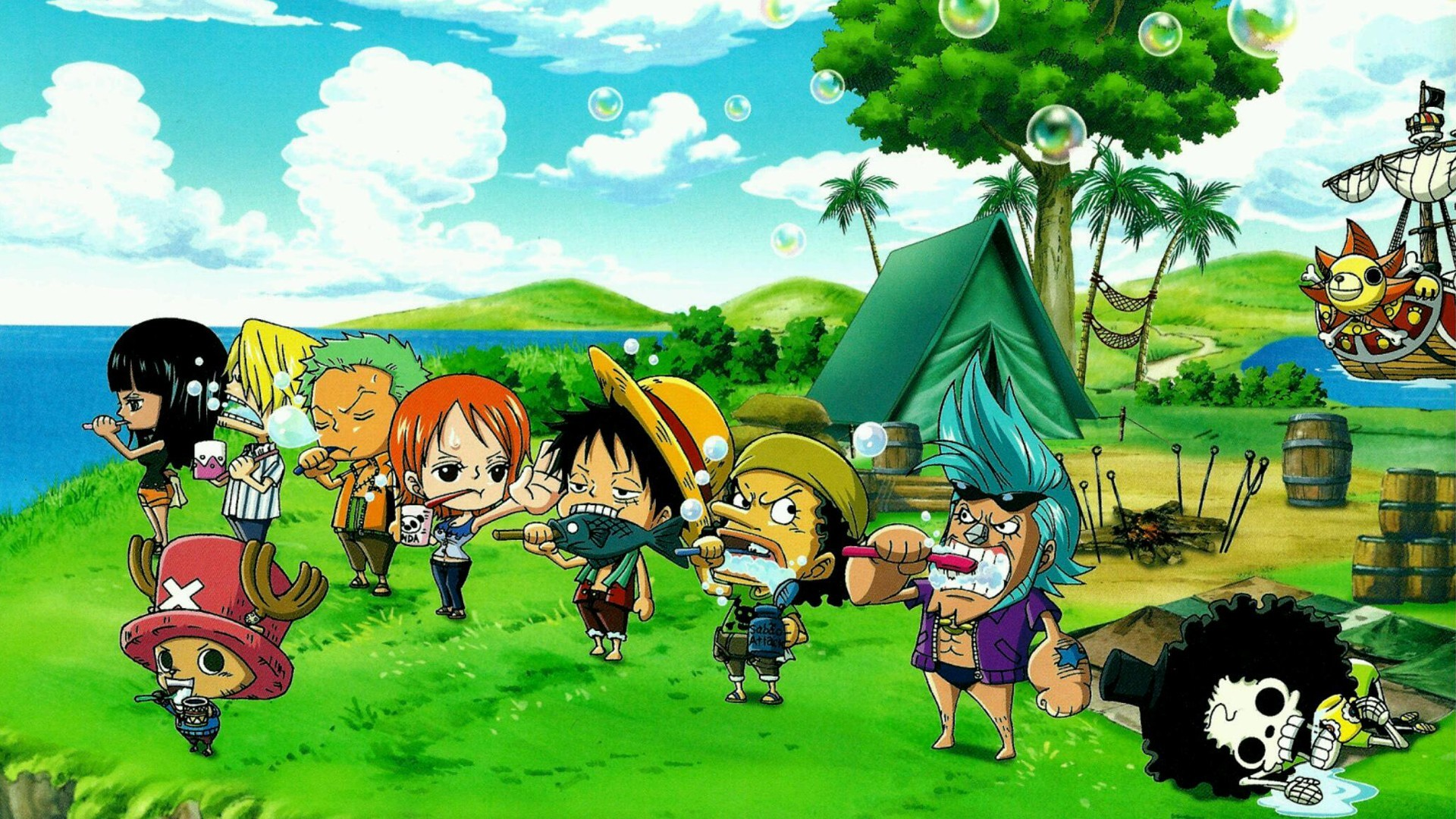 1920x1080 Anime  One Piece Nico Robin Roronoa Zoro Nami Monkey D. Luffy  Usopp Franky Brook