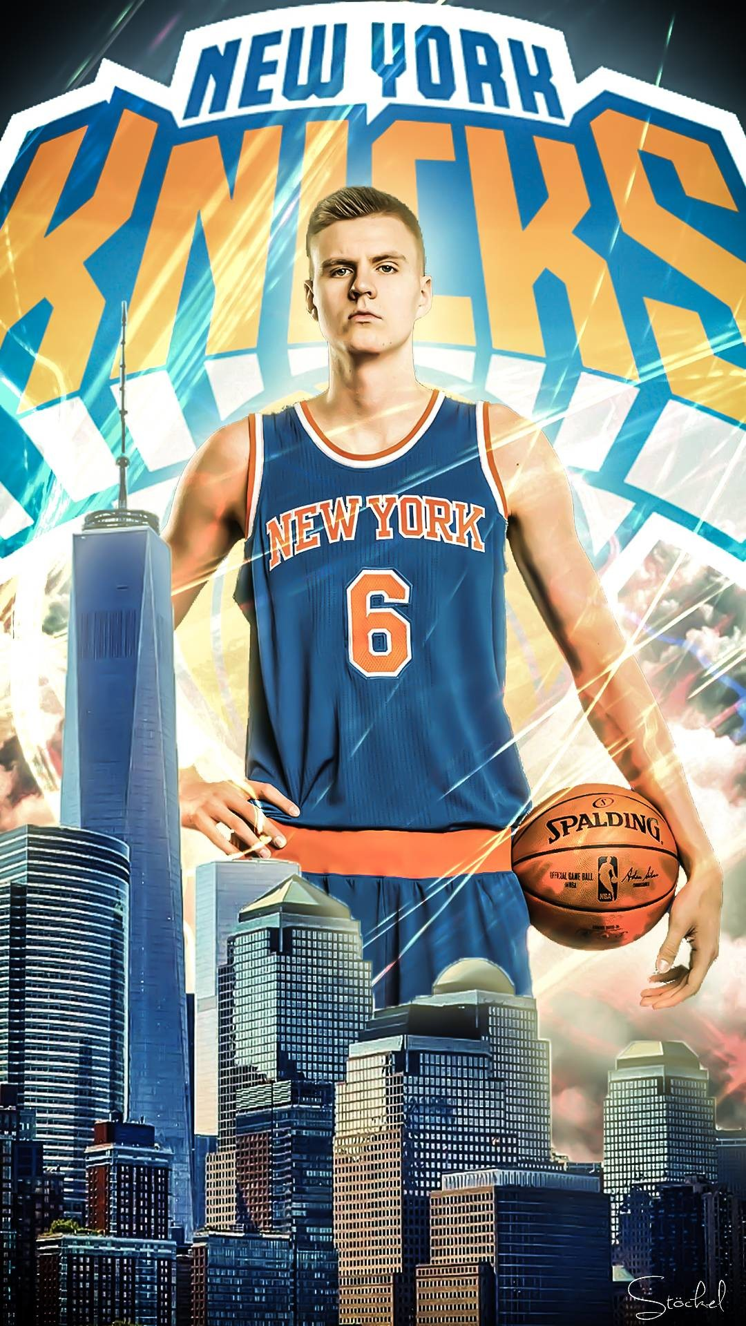 1080x1920 Made a Kristaps Porziņģis mobile wallpaper to celebrate the mobile giant in  NY. Lemme know if you want one for the other players too.