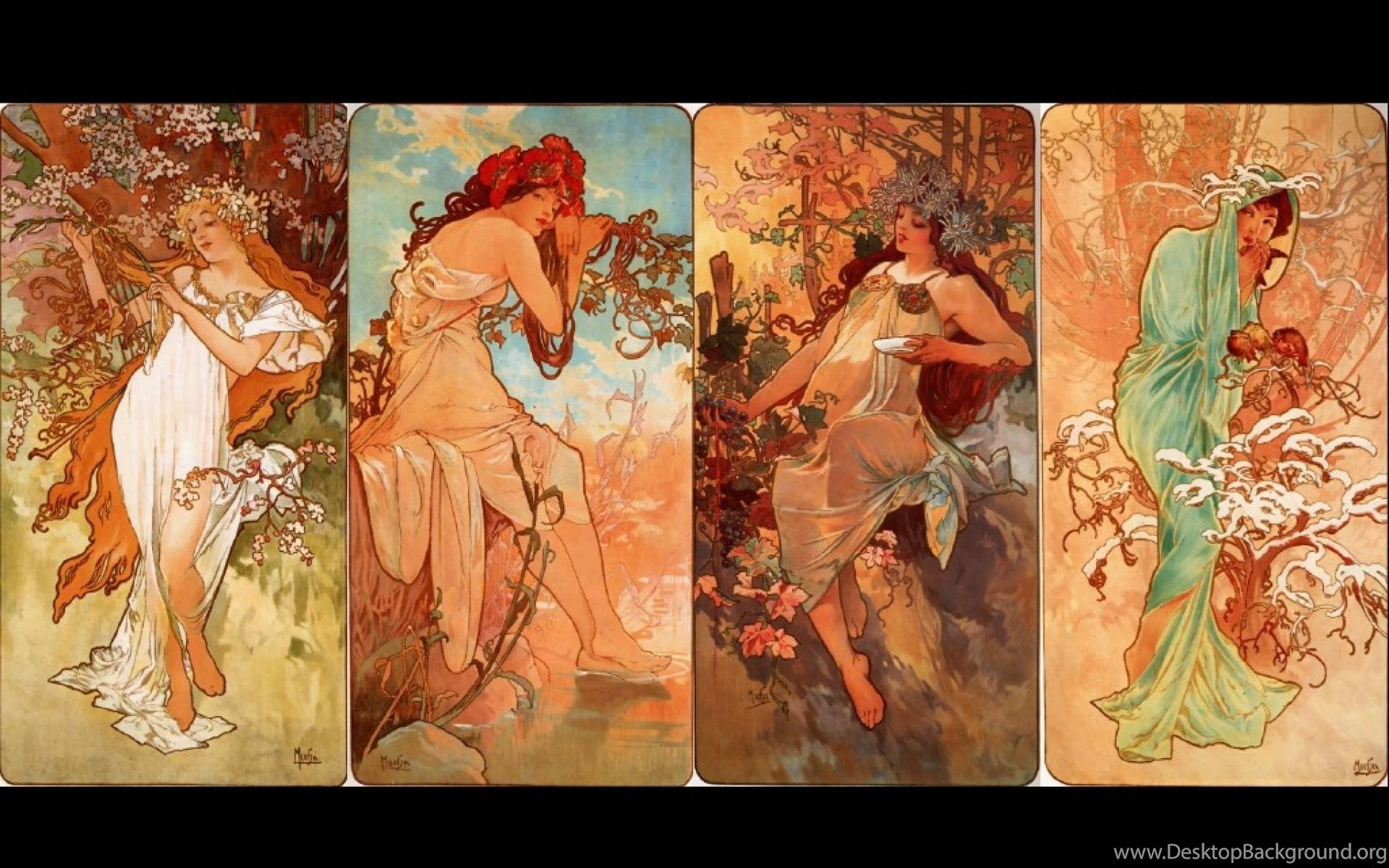 1920x1200 Alphonse Mucha Autumn Paintings Seasons Spring Wallpapers .