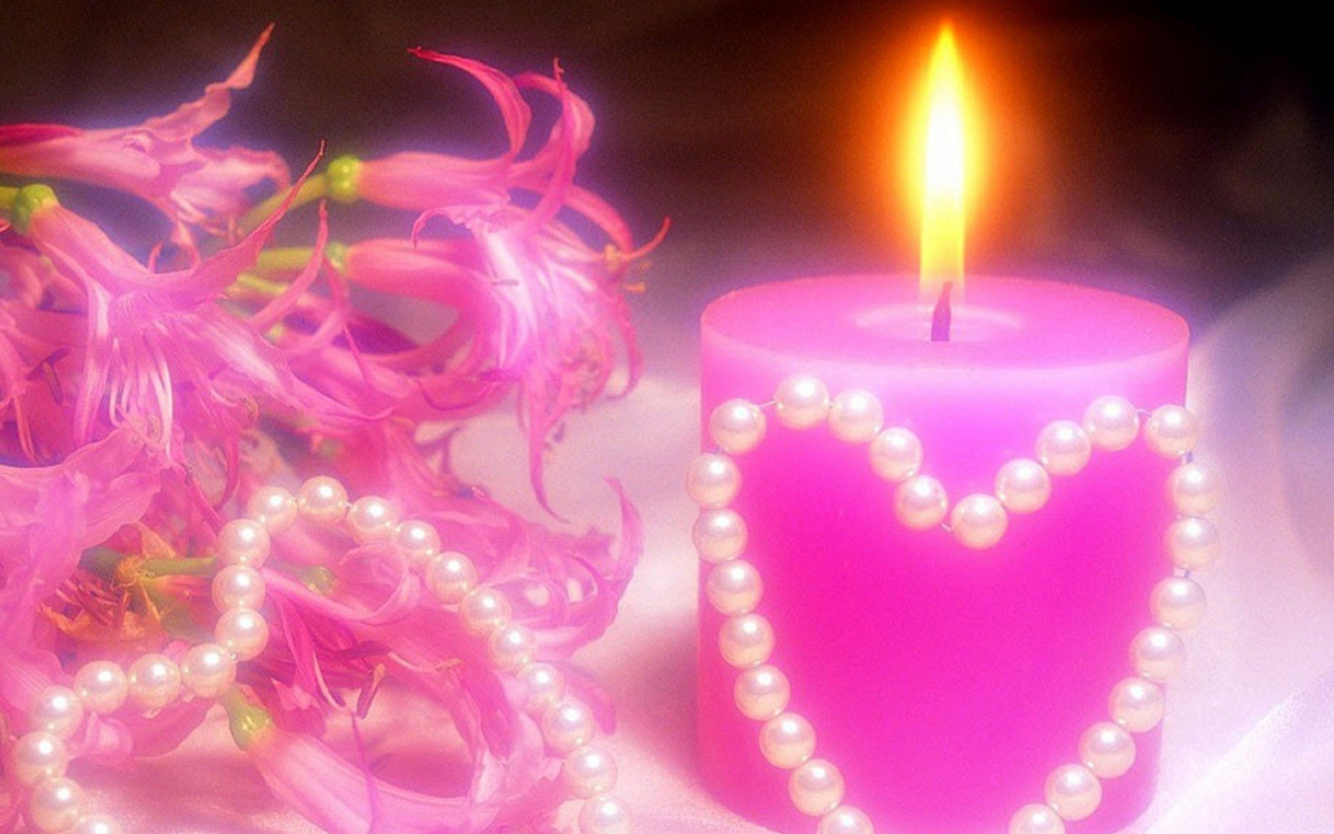 1920x1200 Pink candle lights HD wallpaper