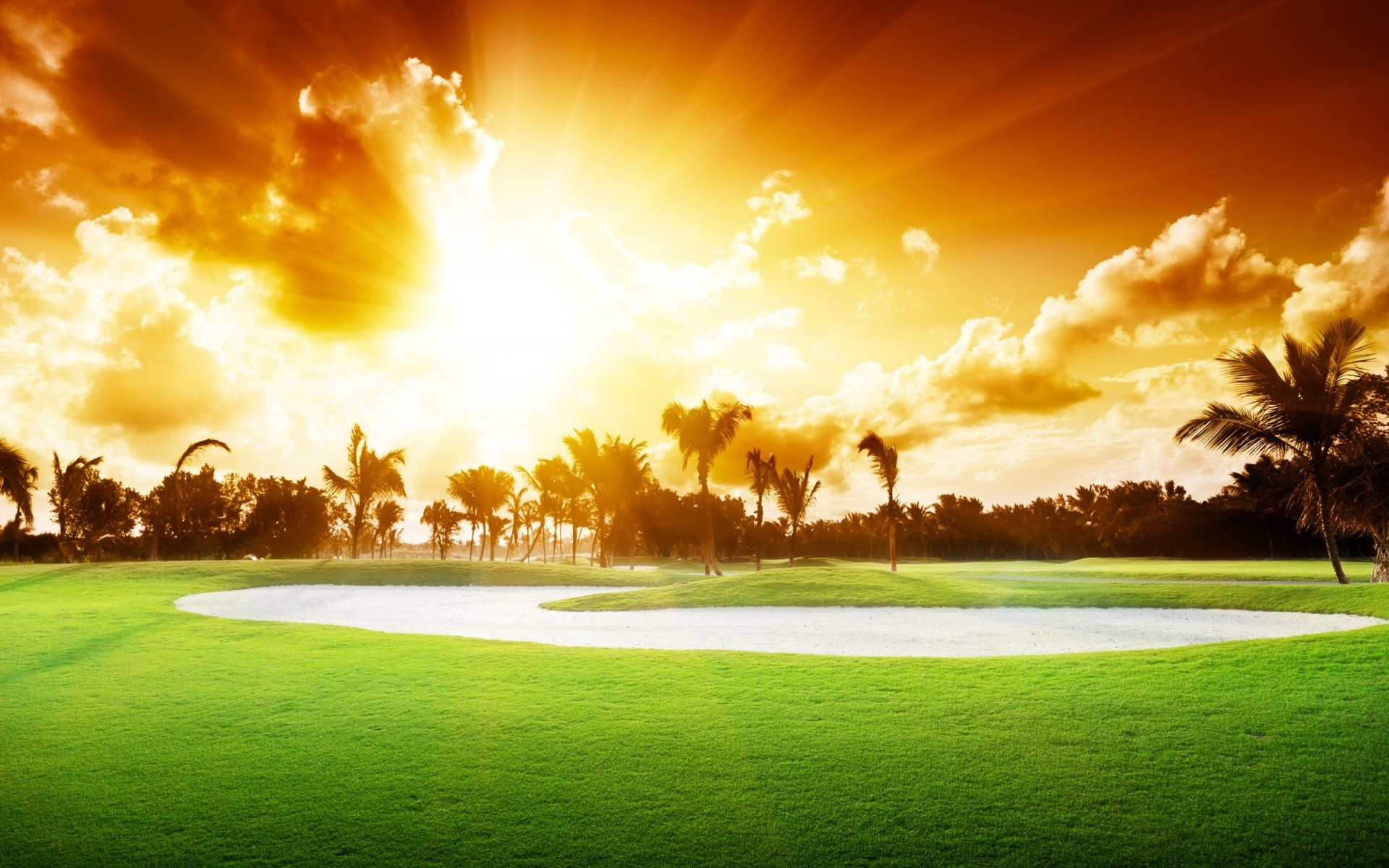 1920x1200 Beautiful Golf Course Sunset | 1920 x 1200 ...